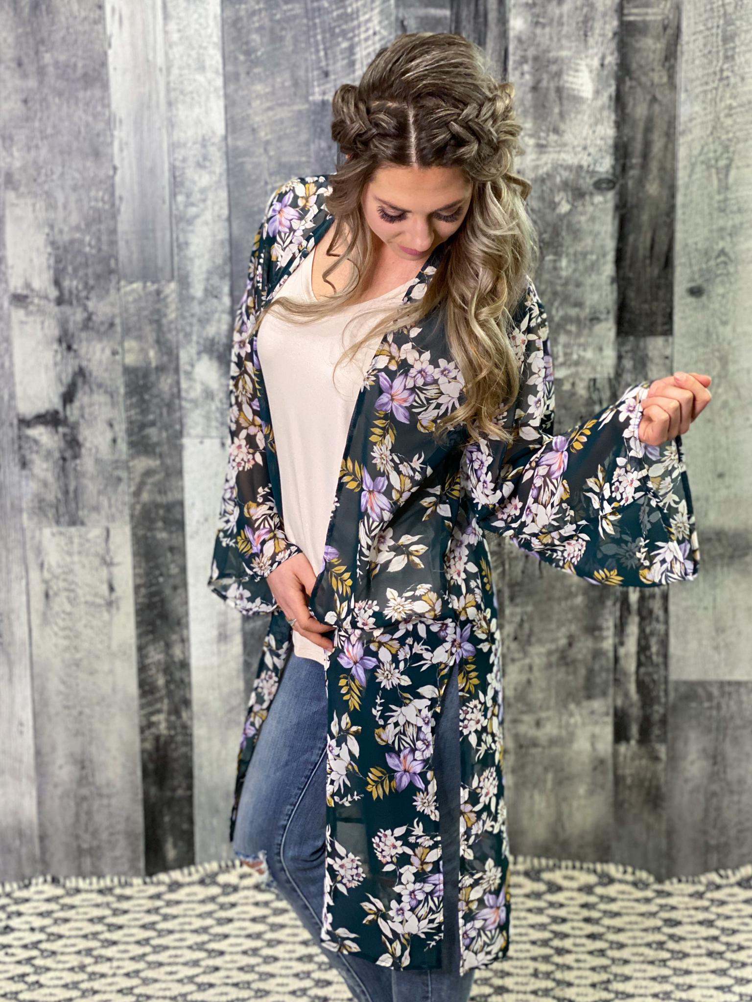 Green Floral Long Sleeve Kimono Duster