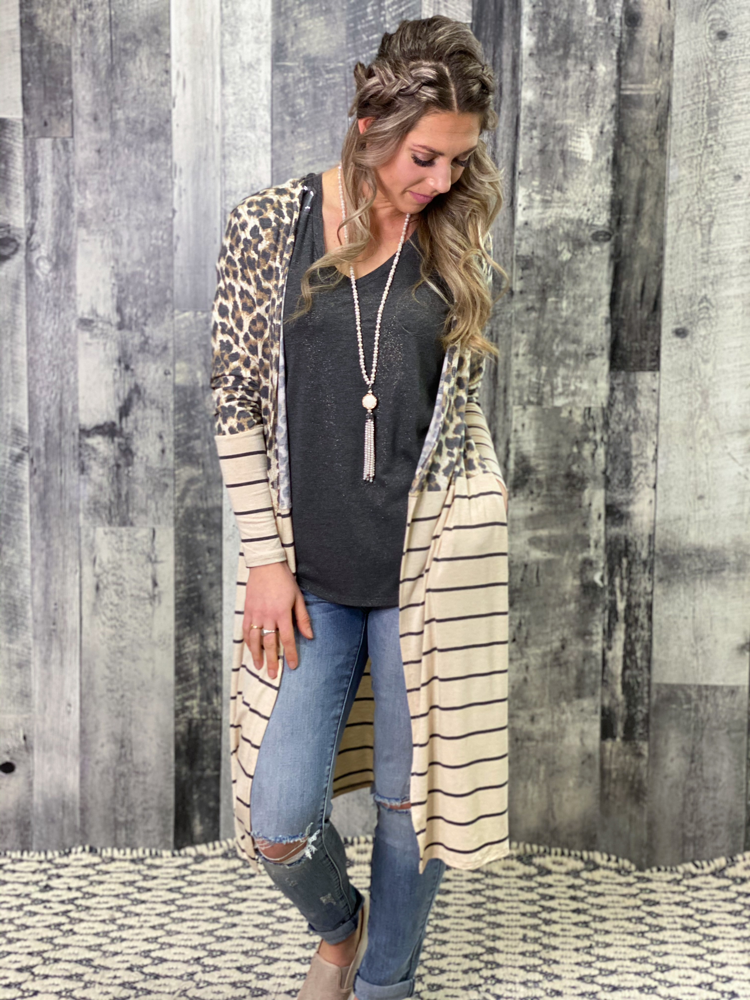 Leopard and Striped Duster Cardigan 46H4