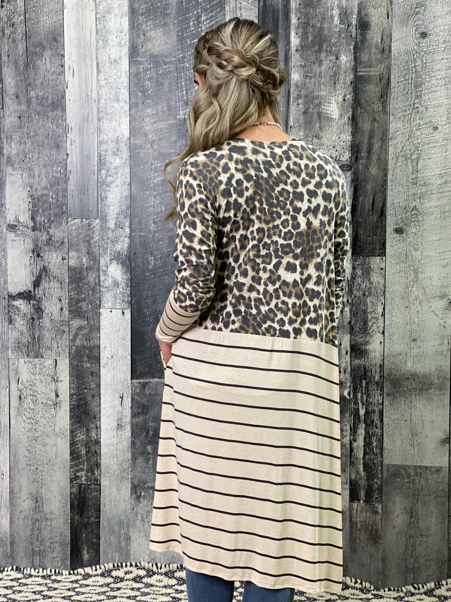 Leopard and Striped Duster Cardigan