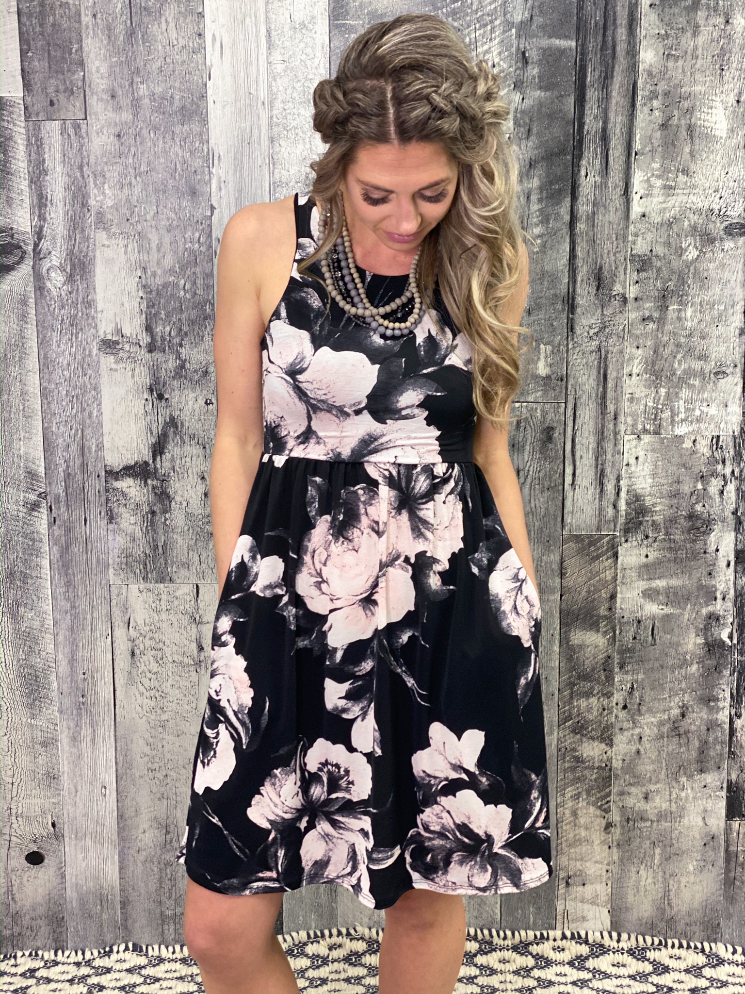 Black Floral Tank Dress 3RYA