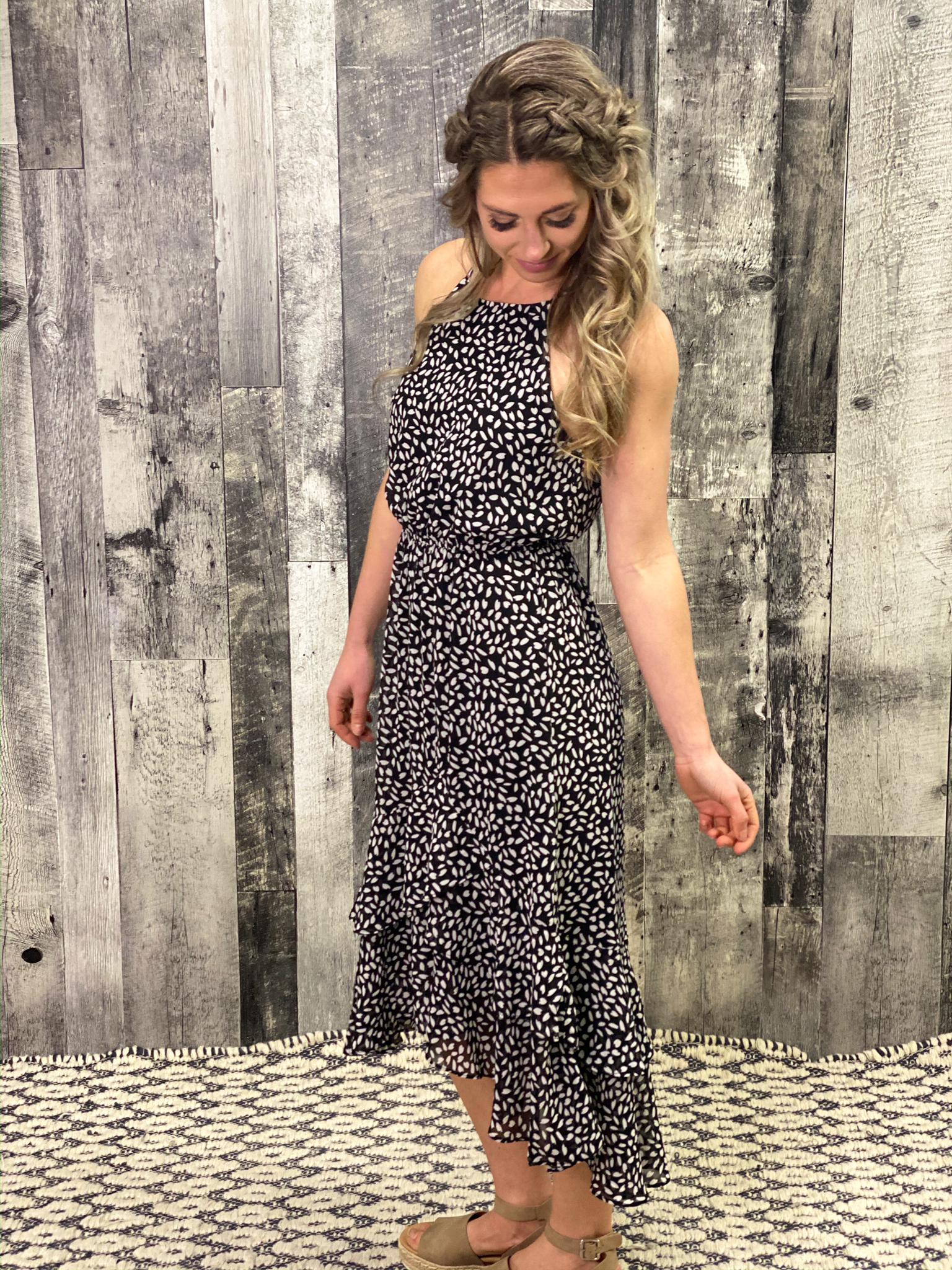 High Low halter style Dalmation Dress