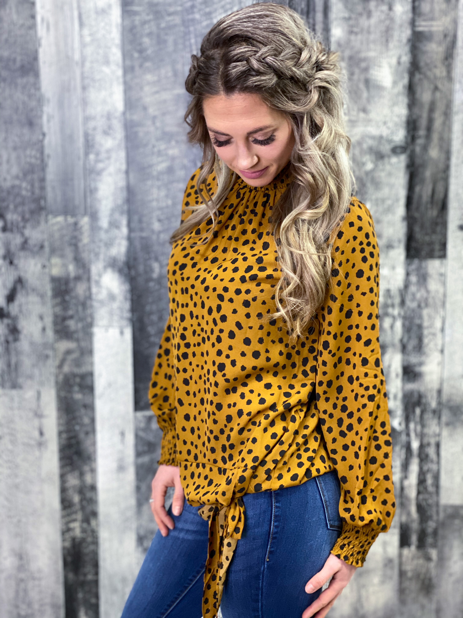 Dalmatian Print Side Tie Blouse - Rust