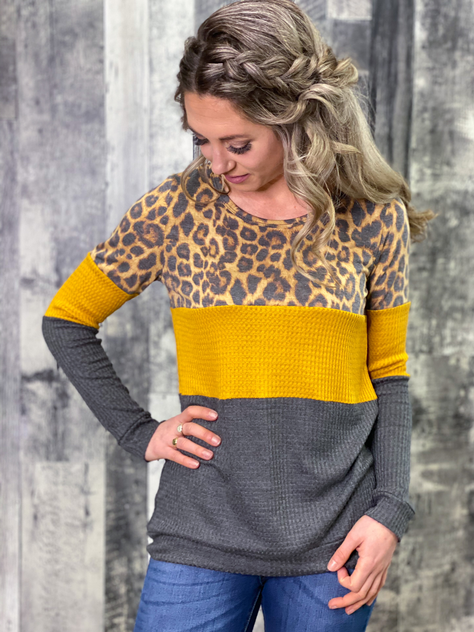 Mustard/Charcoal/Animal Print Colorblock Top GPSE