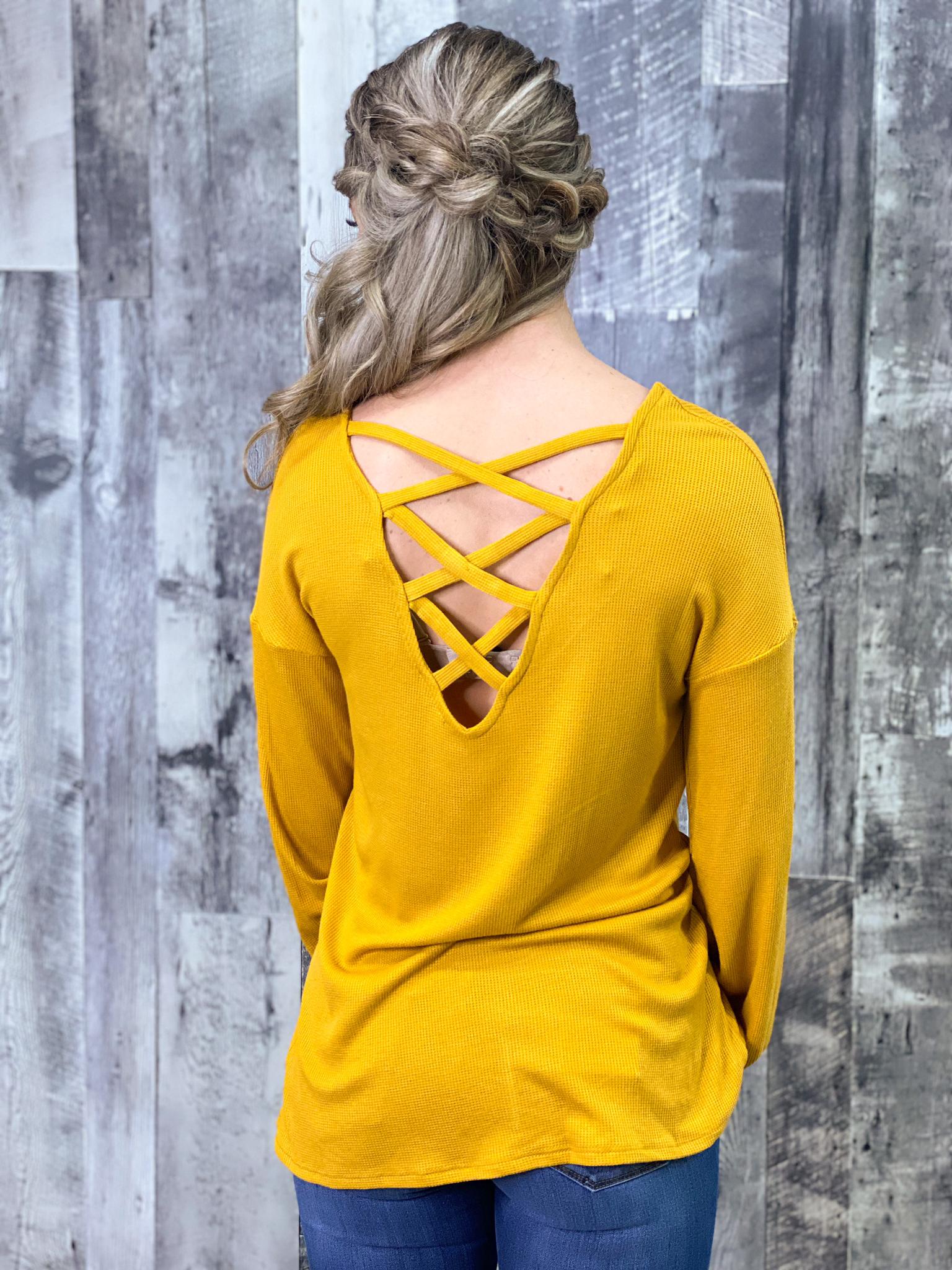 Criss Cross Back Long Sleeve Top - Mustard