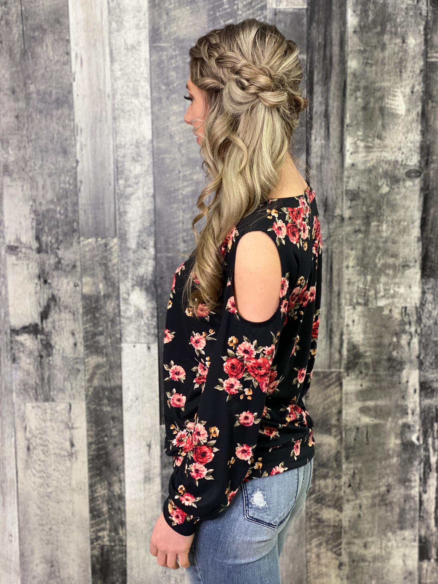 Cold Shoulder Black Floral Top