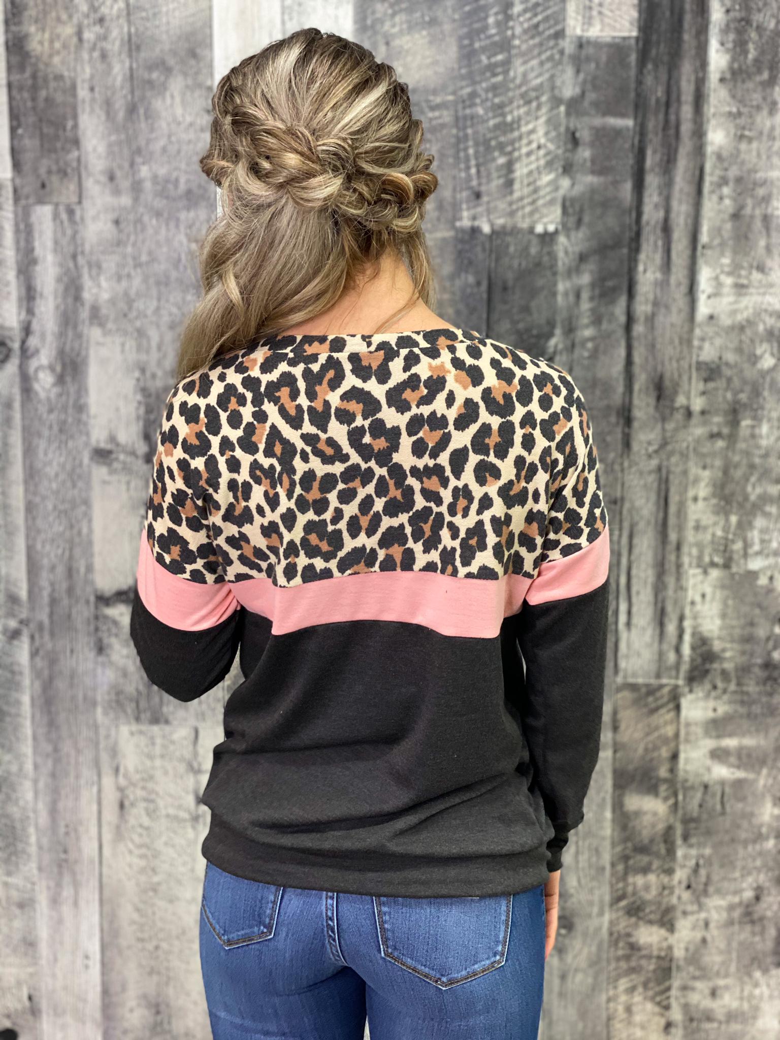 Charcoal/Pink/Leopard Color Block Lightweight Sweatshirt
