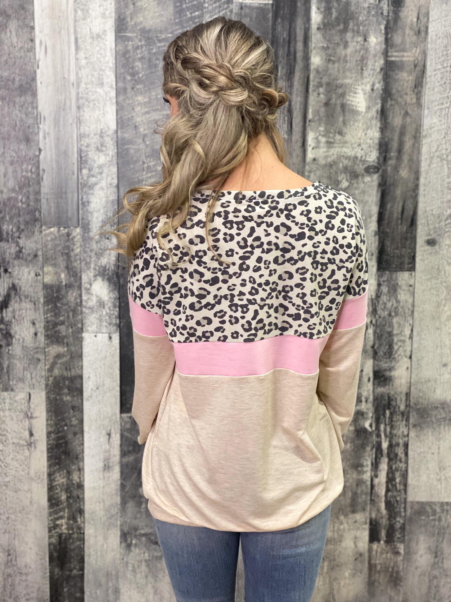 Cream/Pink/Leopard Color Block Lightweight Sweatshirt