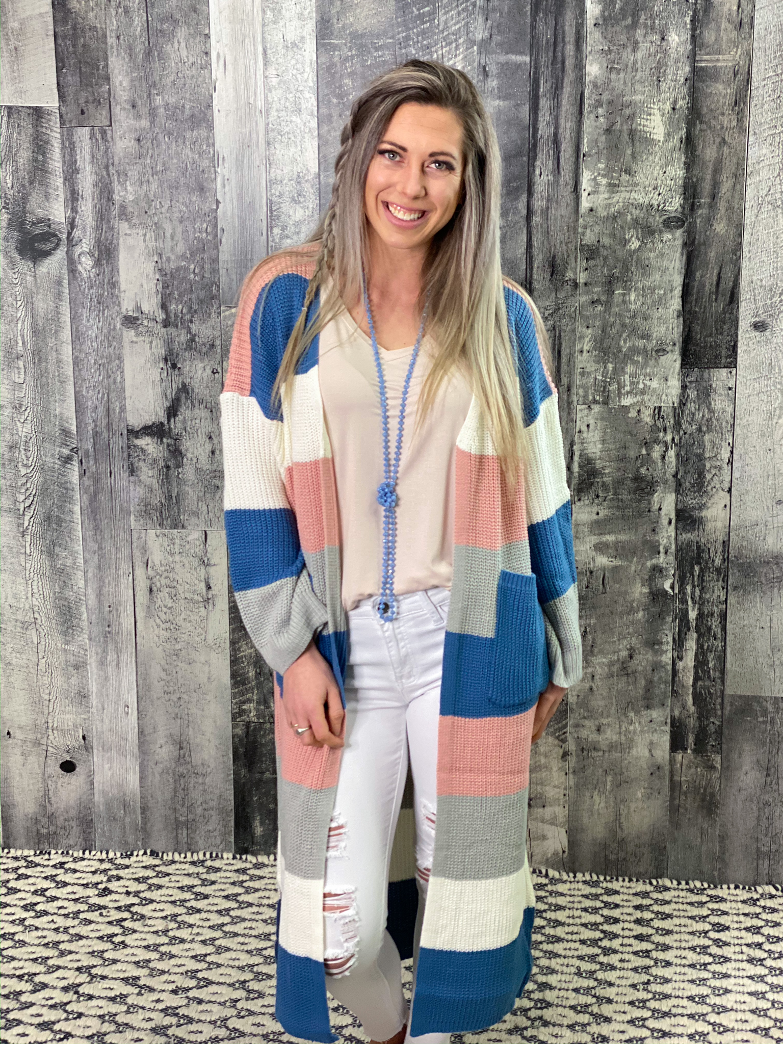 Blue/Pink/Ivory Color Block Sweater Cardigan FXPH