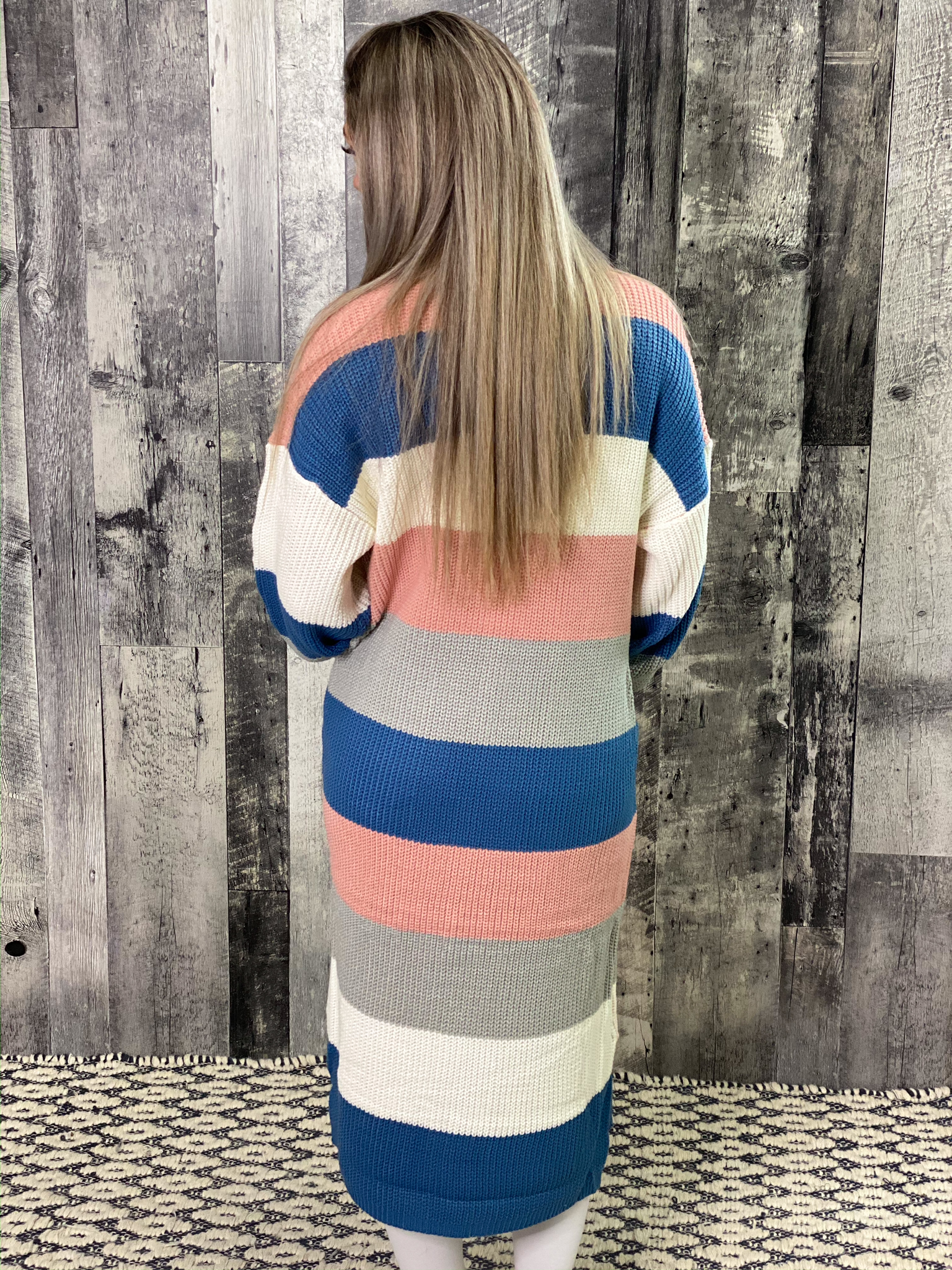 Blue/Pink/Ivory Color Block Sweater Cardigan