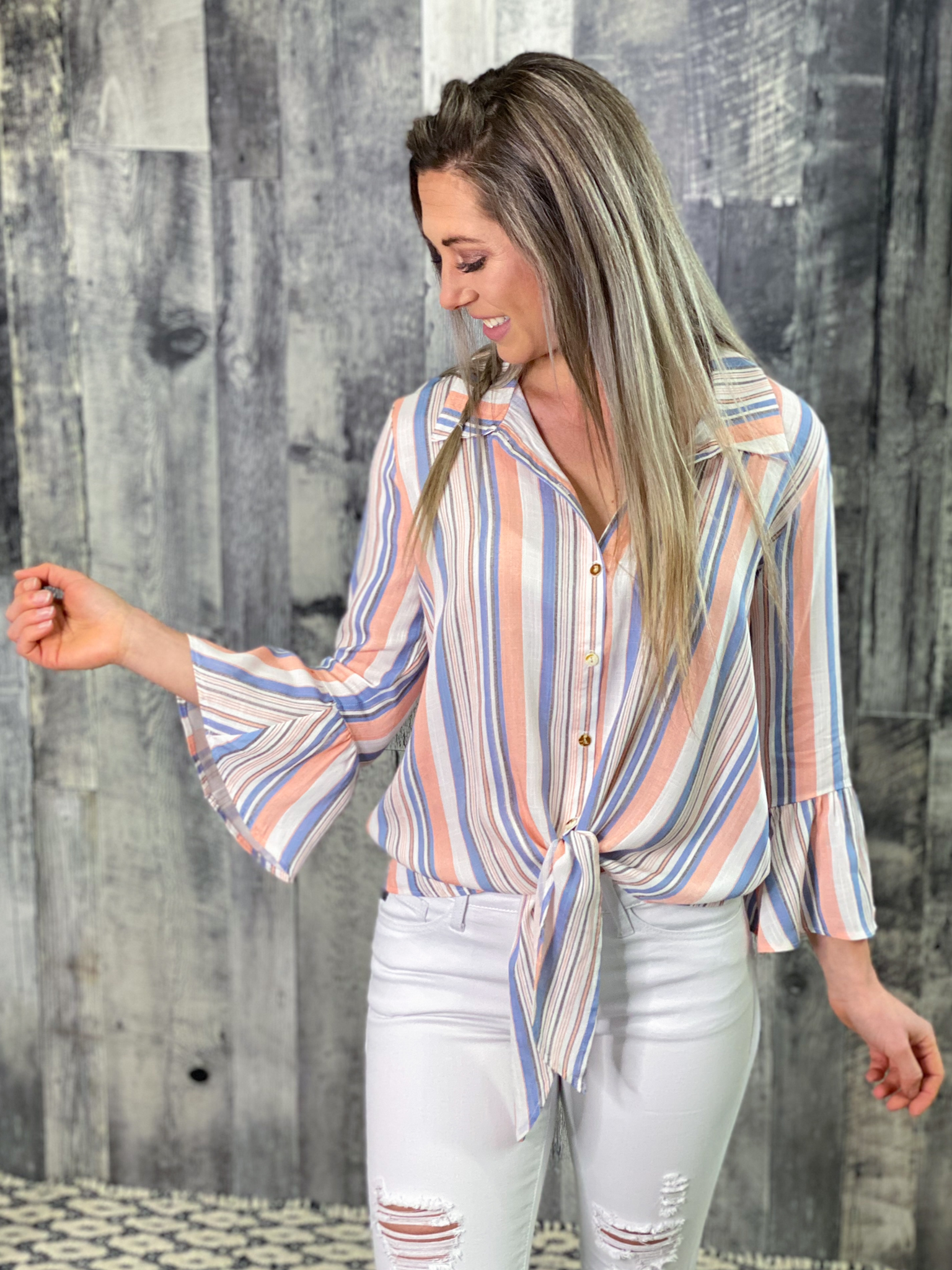 Striped White Coral and Blue Front Tie Button up Top D9BER