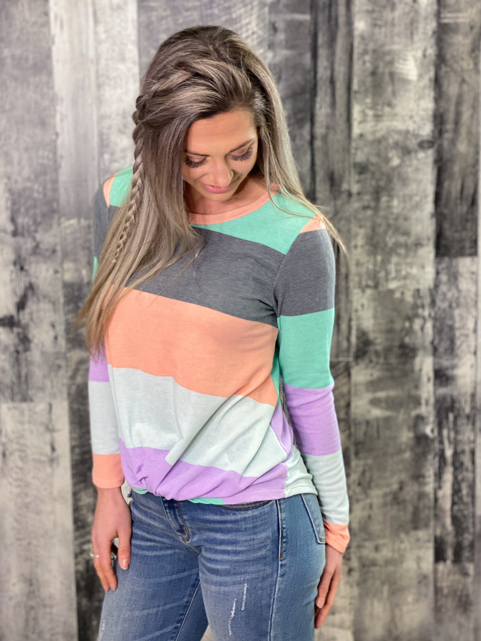 Striped Front Twist Top