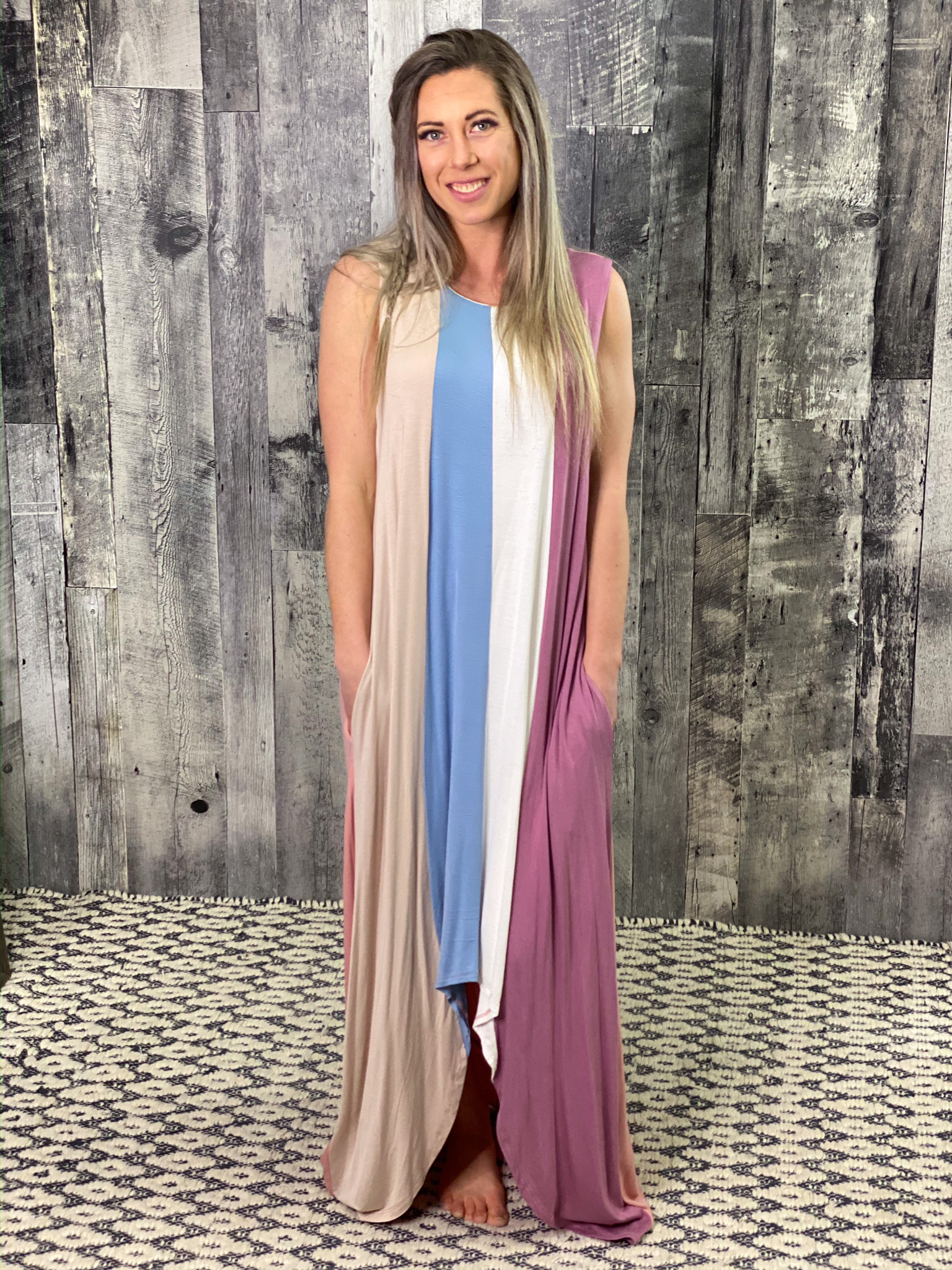 Striped Long Maxi Dress - only XL available CD45