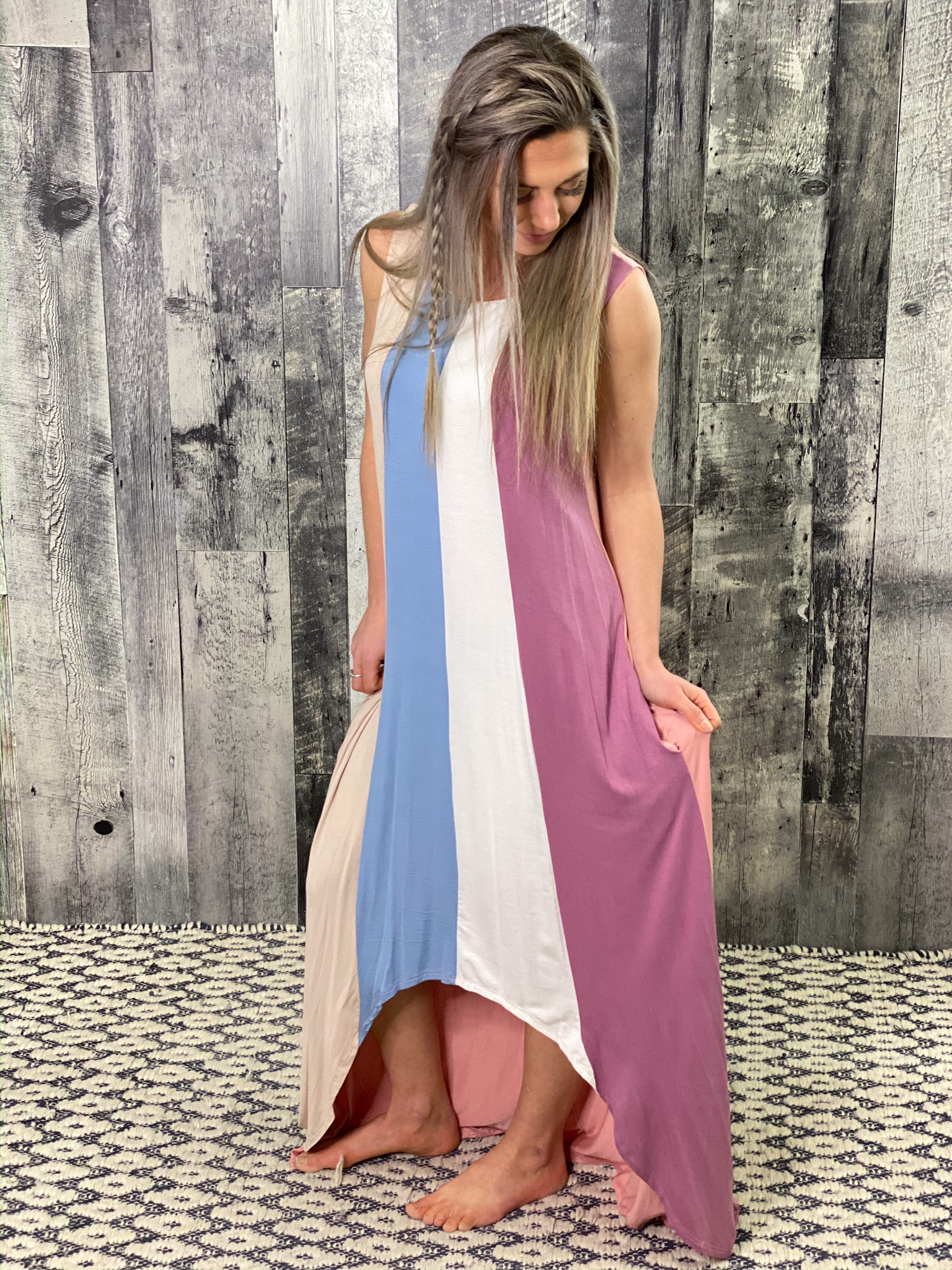 Striped Long Maxi Dress - only XL available