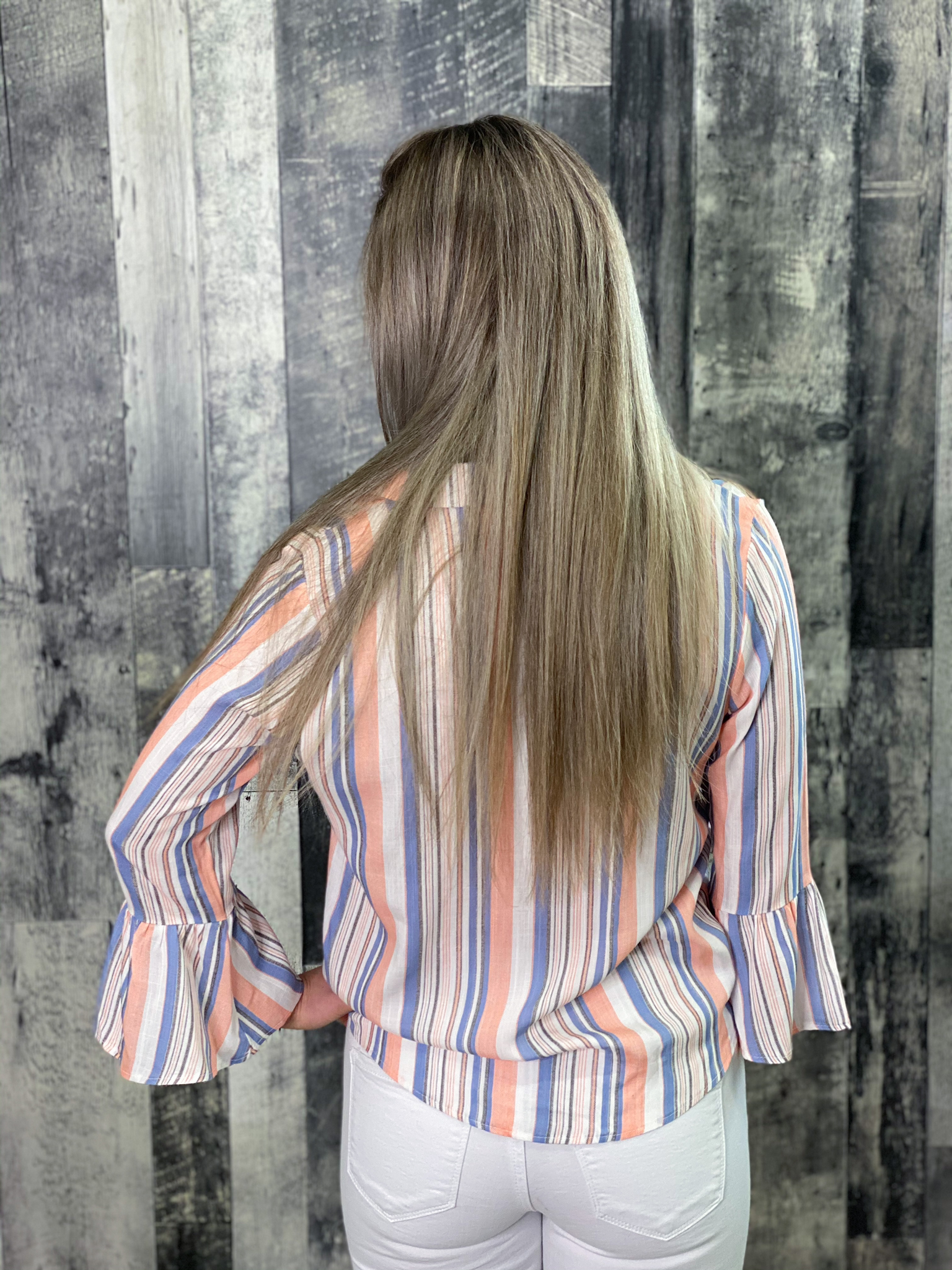 Striped White Coral and Blue Front Tie Button up Top