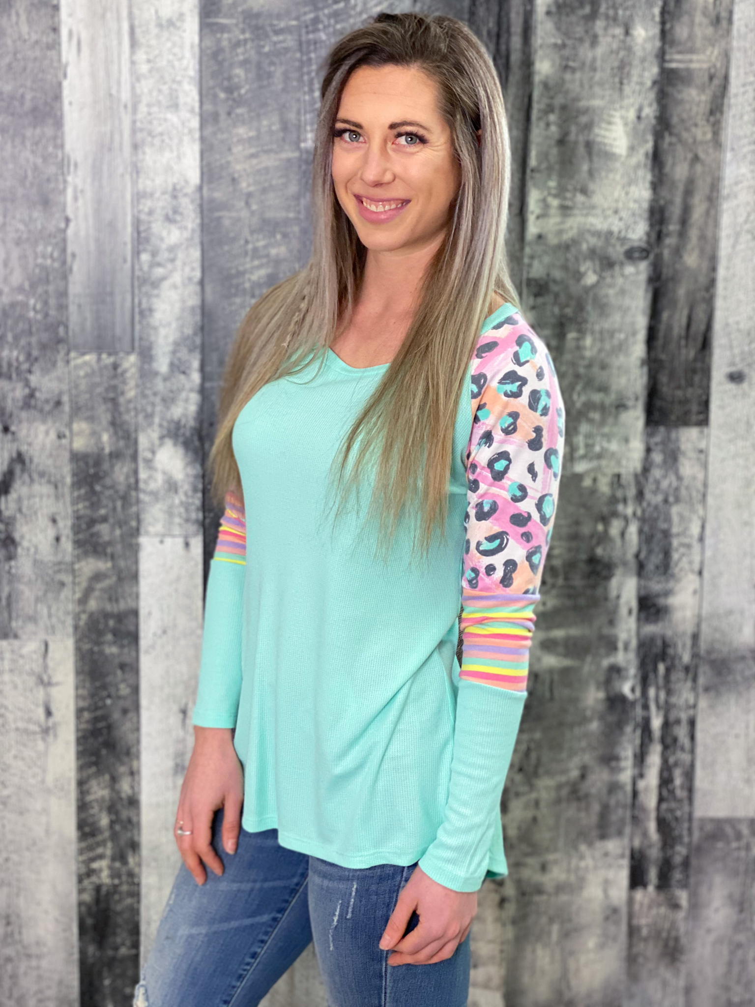 Mint Animal and Stripe Colour Block Long Sleeve Top