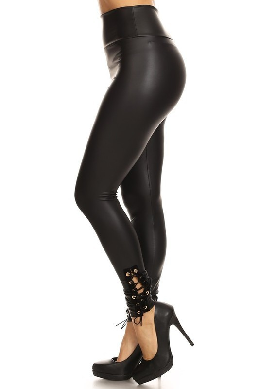 Faux Leather High Rise Lace Up Leggings