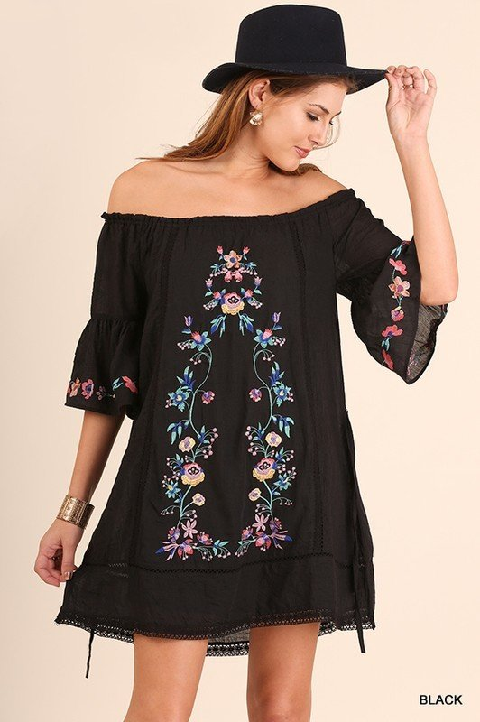 Floral Embroidery Off Shoulder Dress 98868