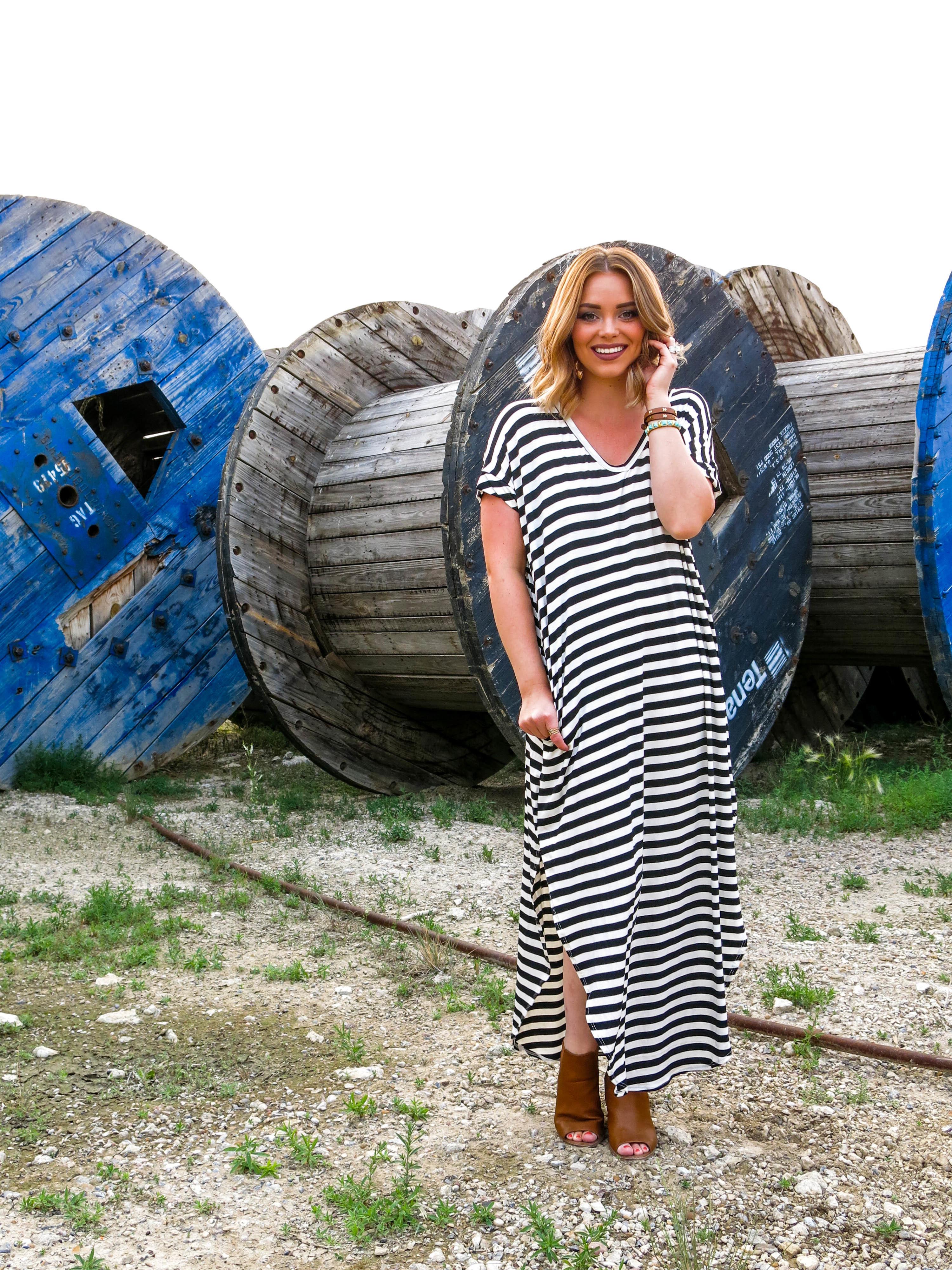 Free to Fly Tshirt Dress - Black Stripe, Coral Stripe 99004