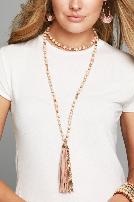 Tilley Tassel Necklace - Pink 99147