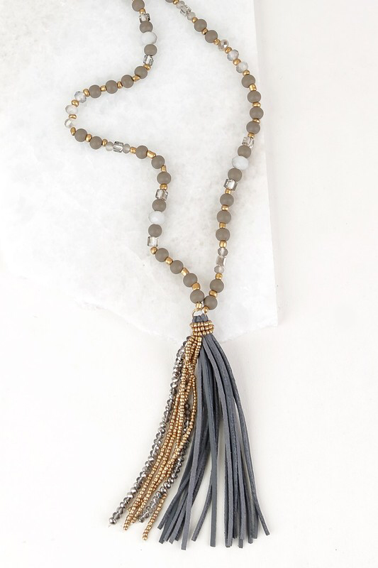 Tilley Tassel Necklace - Grey1 81557