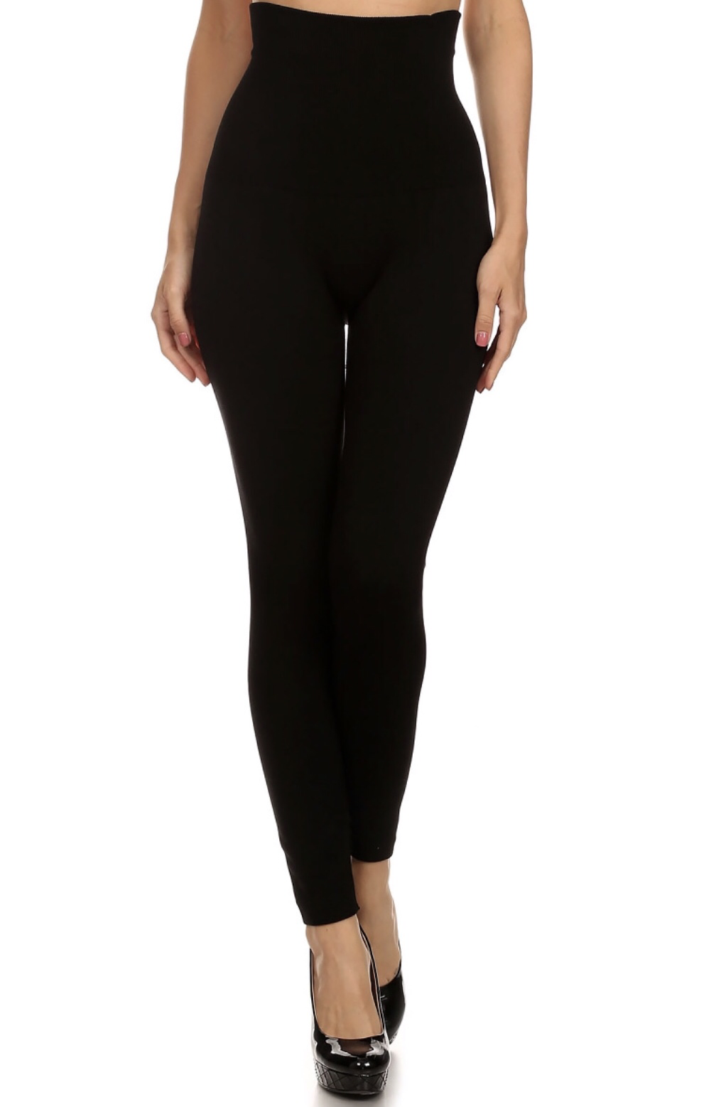 High Rise Black Leggings - Fleece Lined 99508