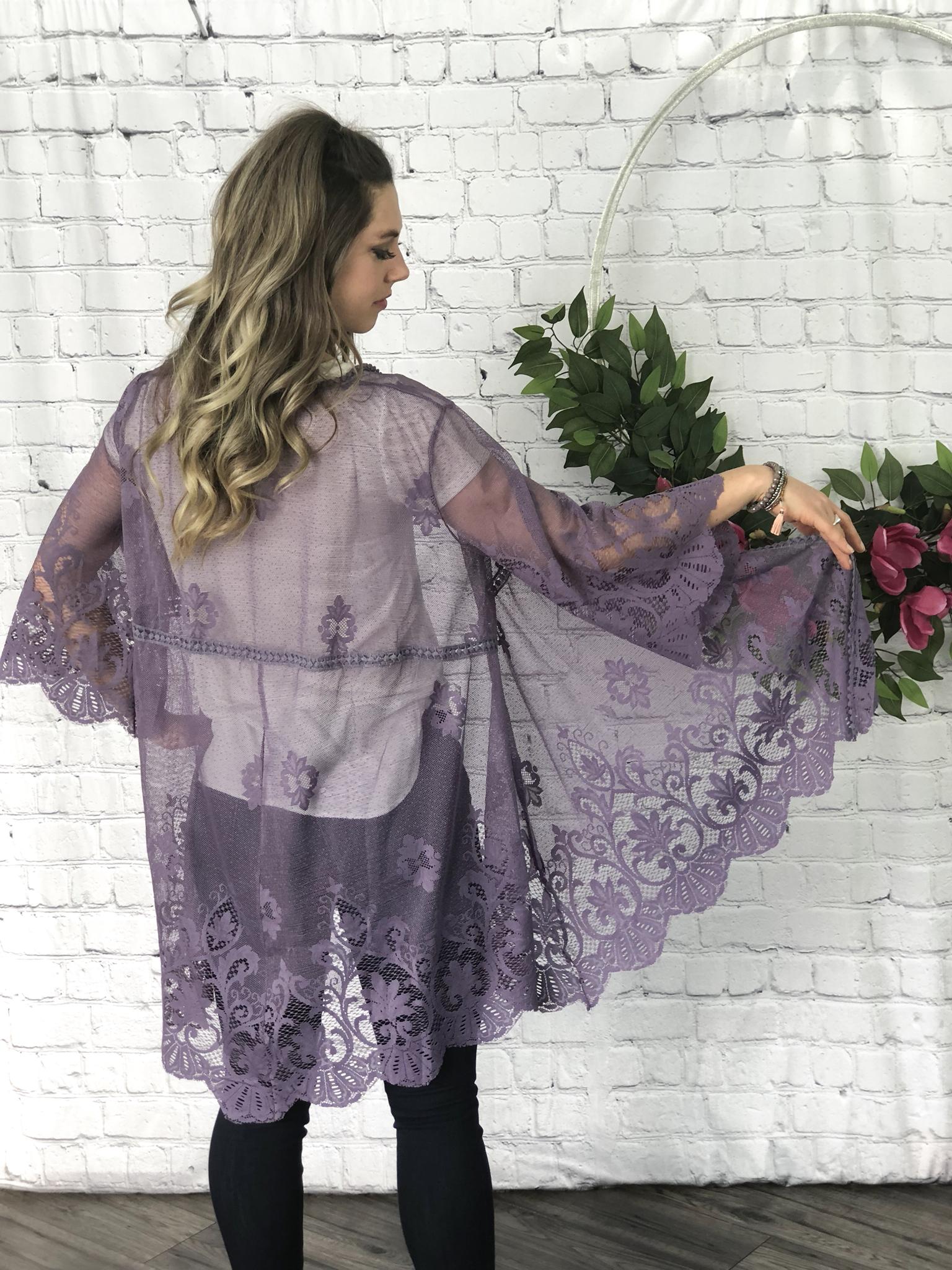 Lavender Lace Kimono 99909