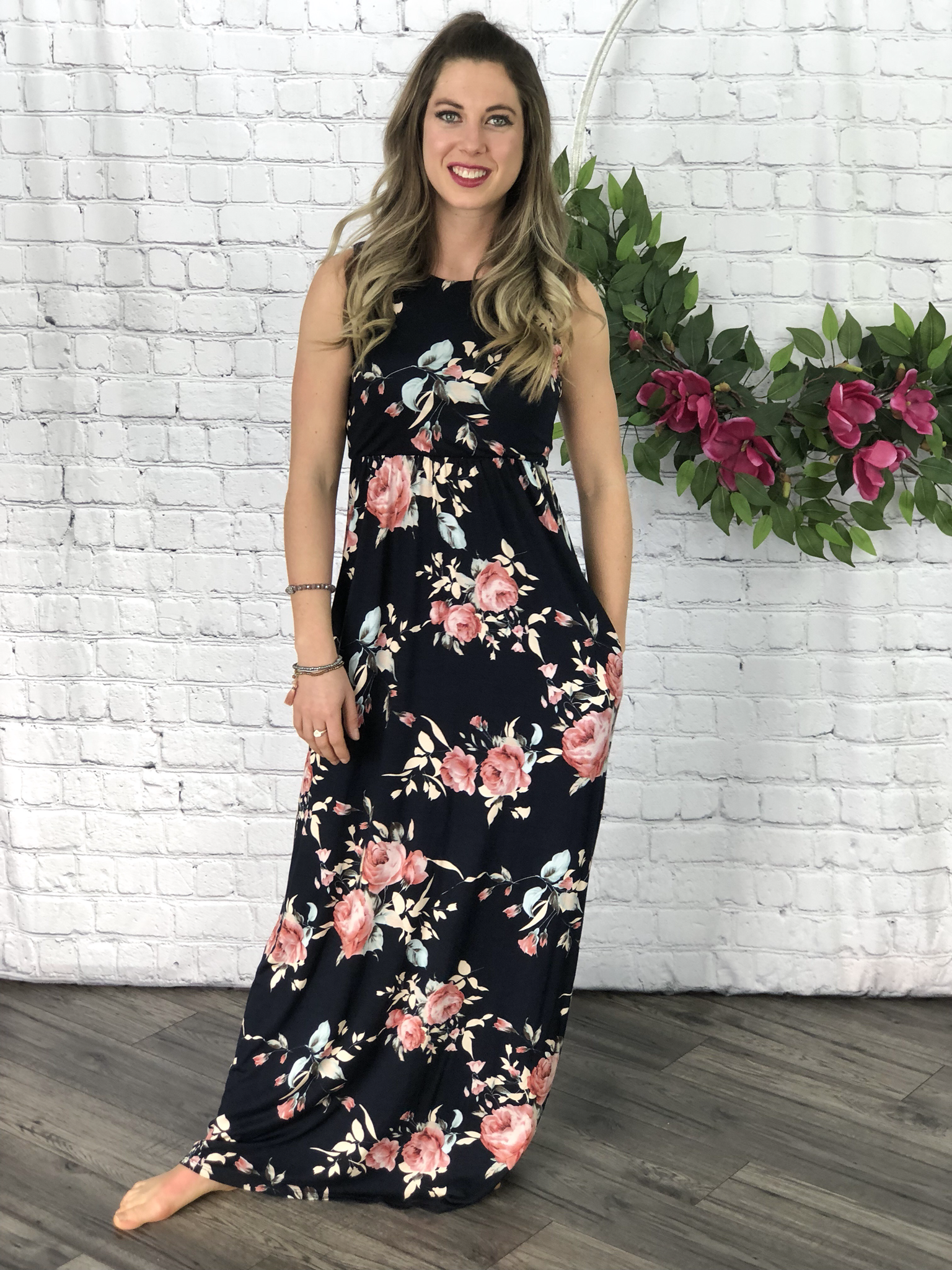 In Bloom Maxi Dress - Navy 99953