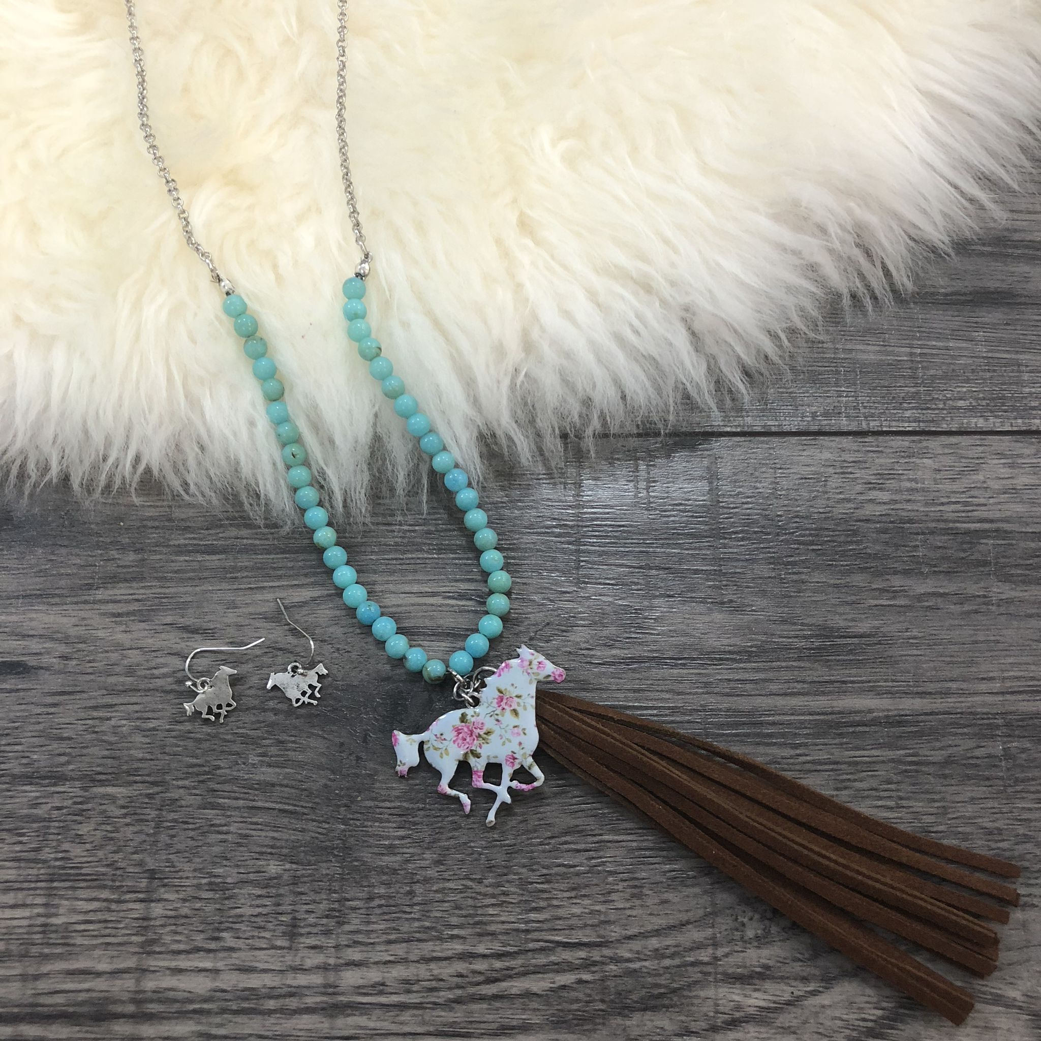 Floral Horse Necklace and Earring Set 9998616