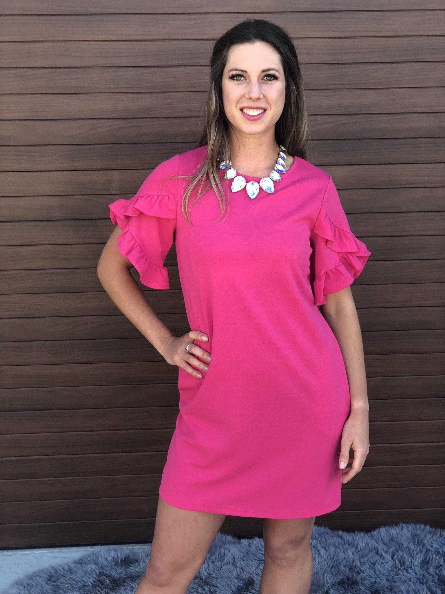 Fuchsia Ruffle Tulip Dress 9998719