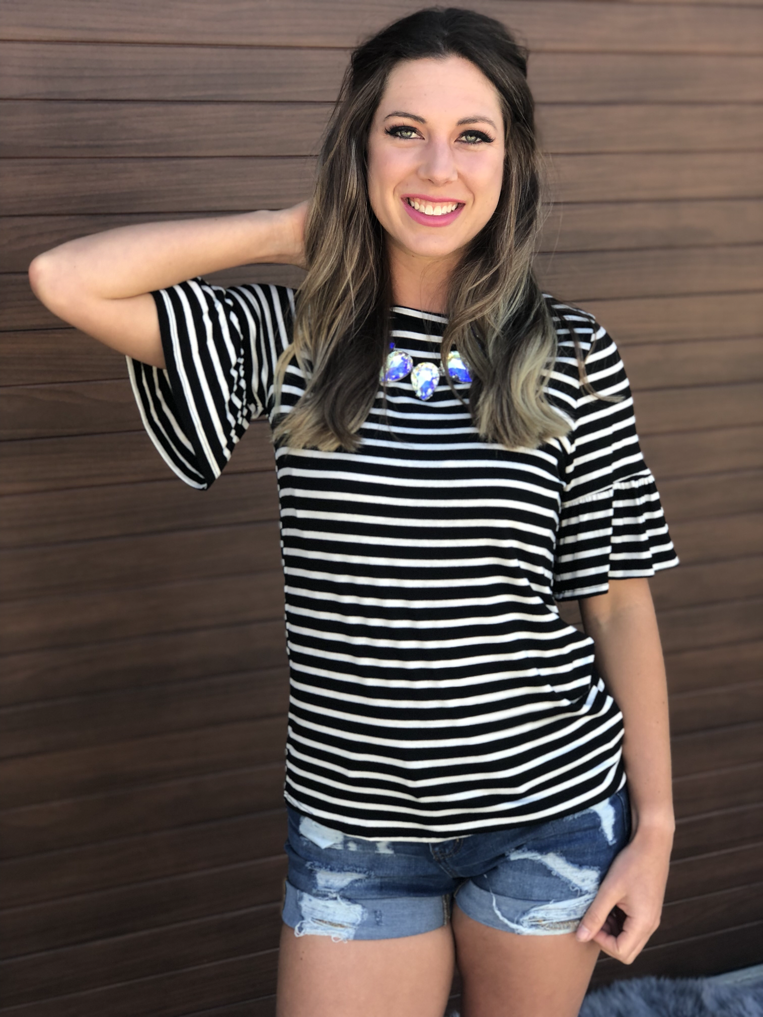 The Annabelle Ruffle Top - Black and White Stripe 9998845