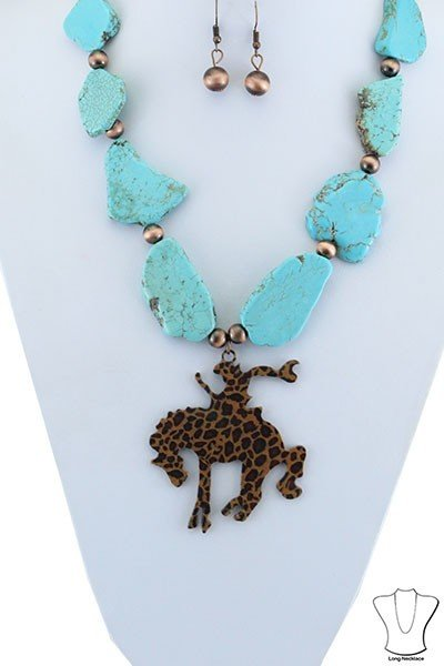 Stone Slab Cowboy Necklace and earring set - 2 colours