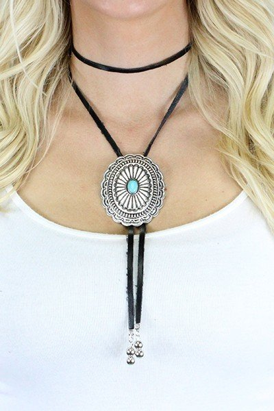 Western Buckle Bolo Choker Necklace Earring Set -  2 Colours 9999247