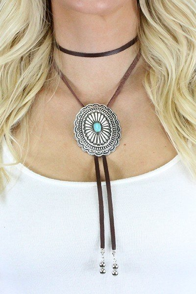 Western Buckle Bolo Choker Necklace Earring Set -  2 Colours