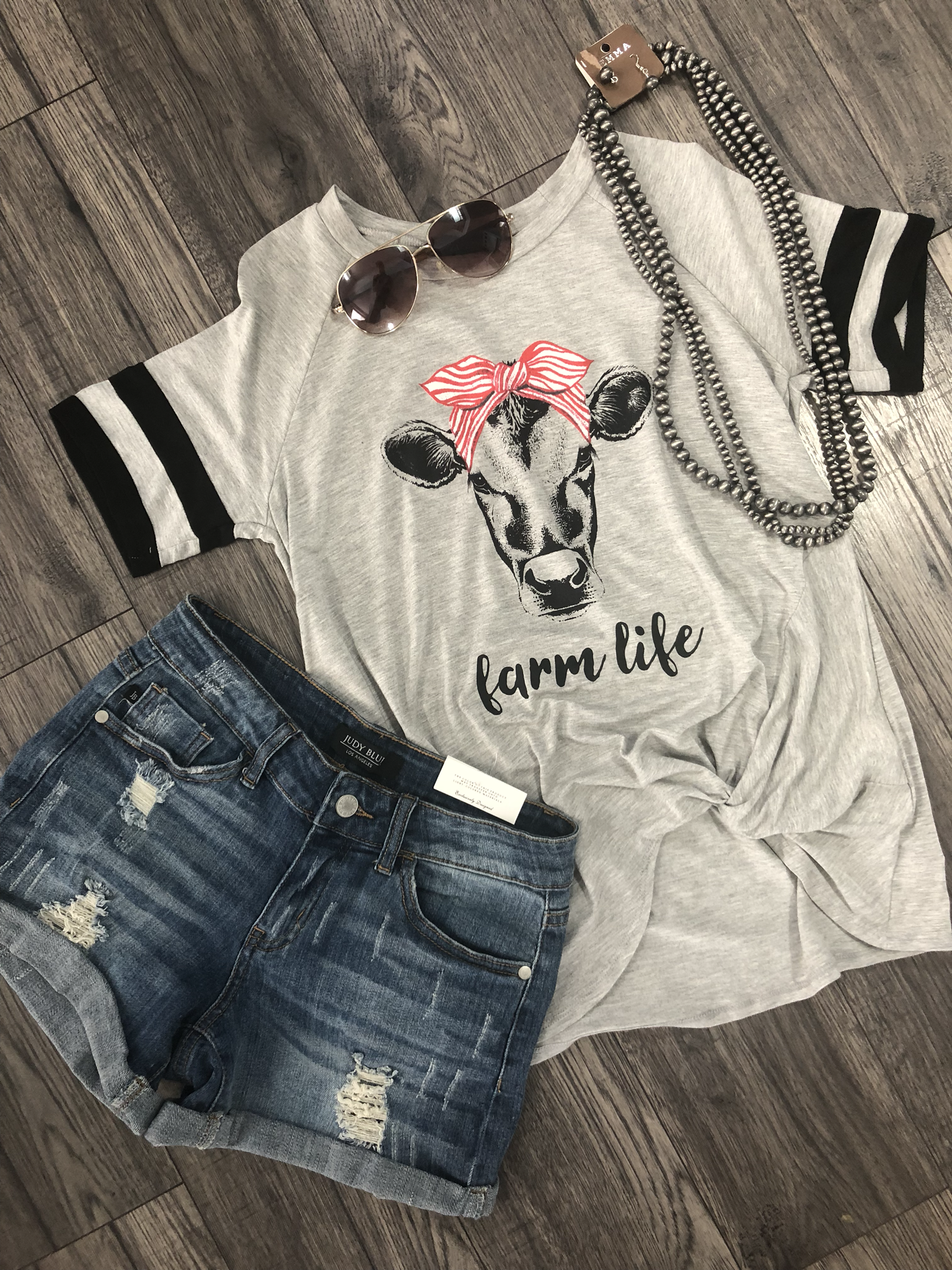 Farm Life Cow Tee - Heather Grey 9999273