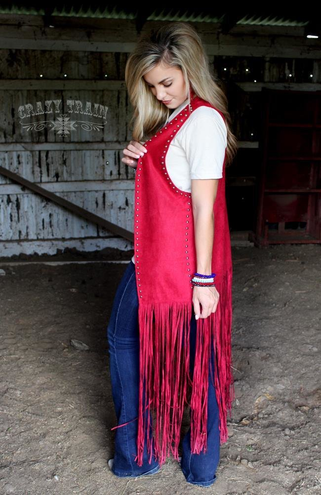 The Reno Red Studded Duster Vest1 9999288