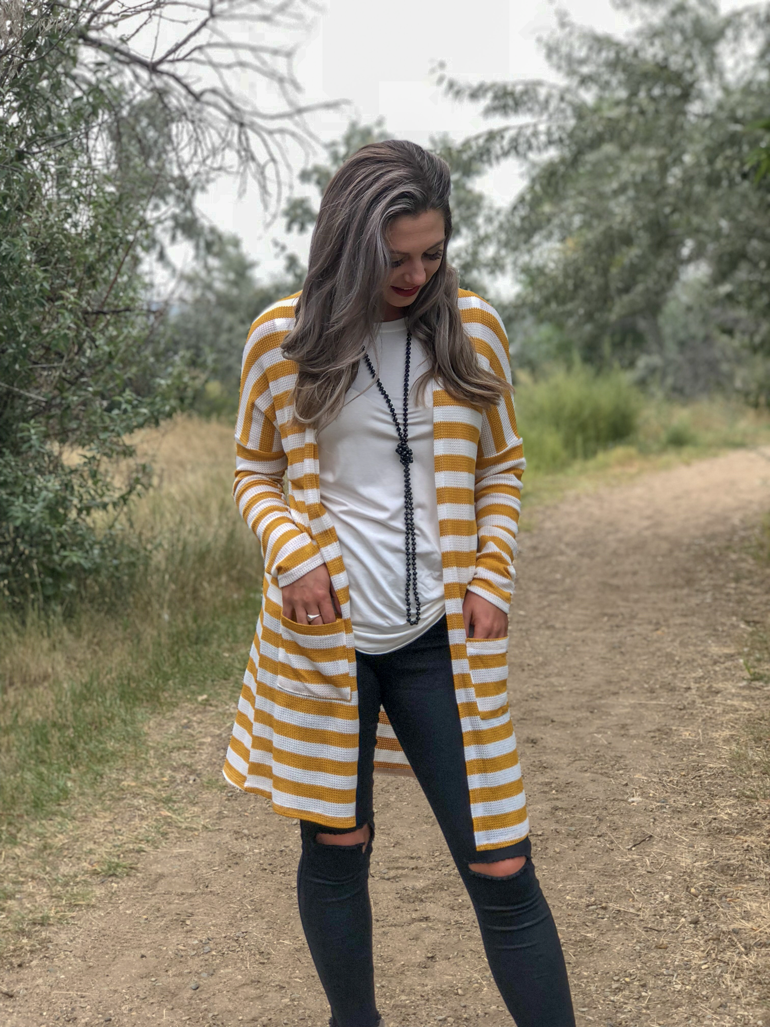 Striped Cardigan - Mustard 9999620