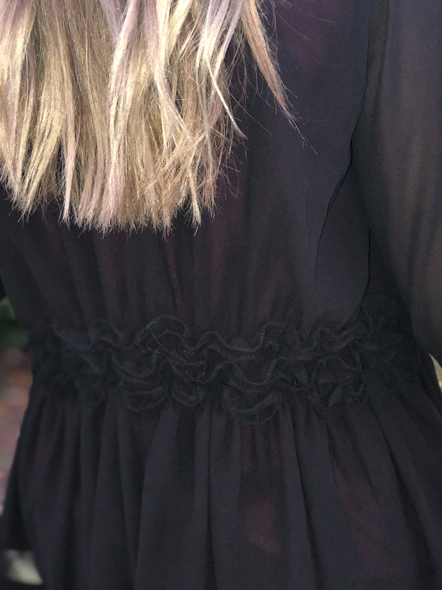 Black Long Sleeve Bell Cardigan with Ruffles
