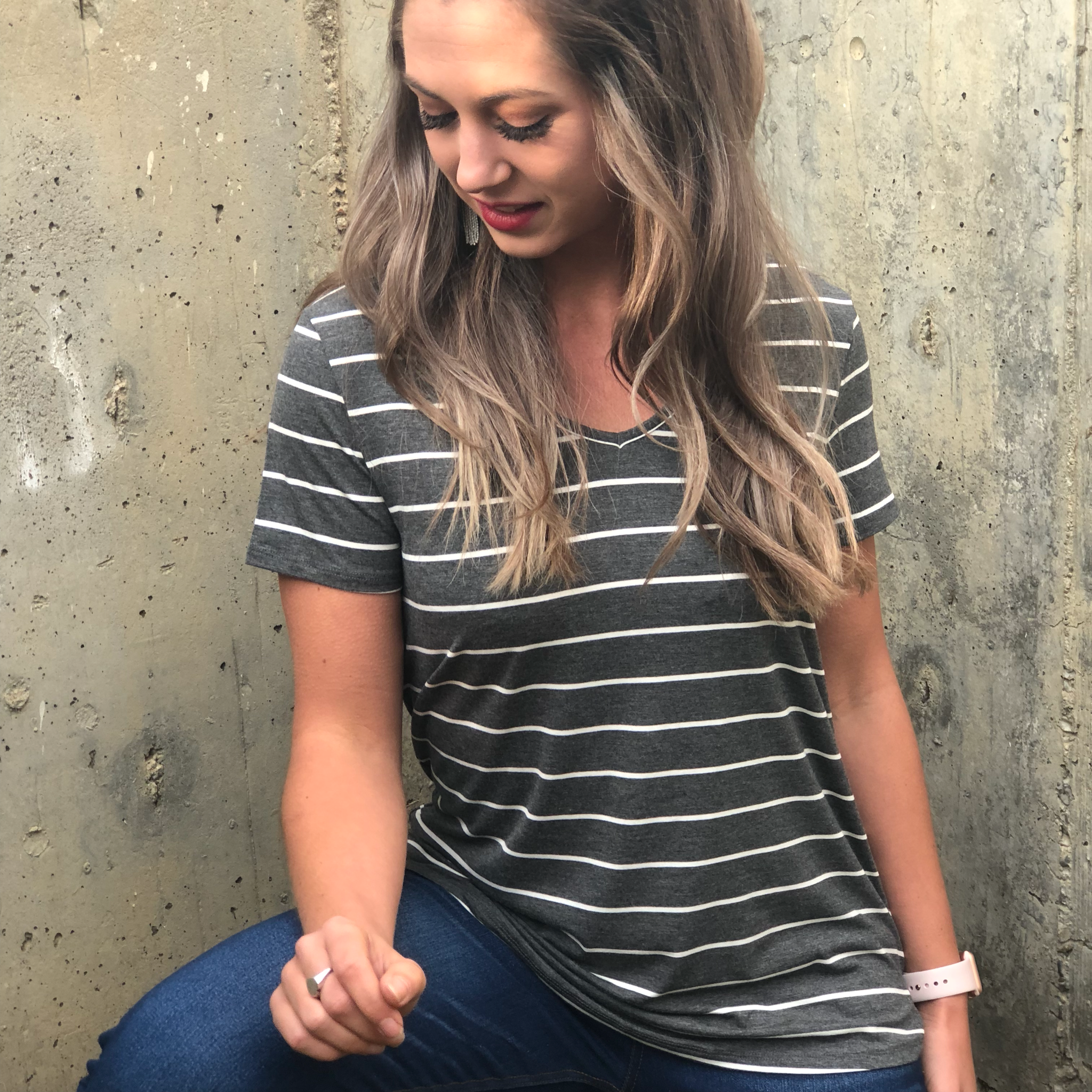Grey Striped Tee 9999798