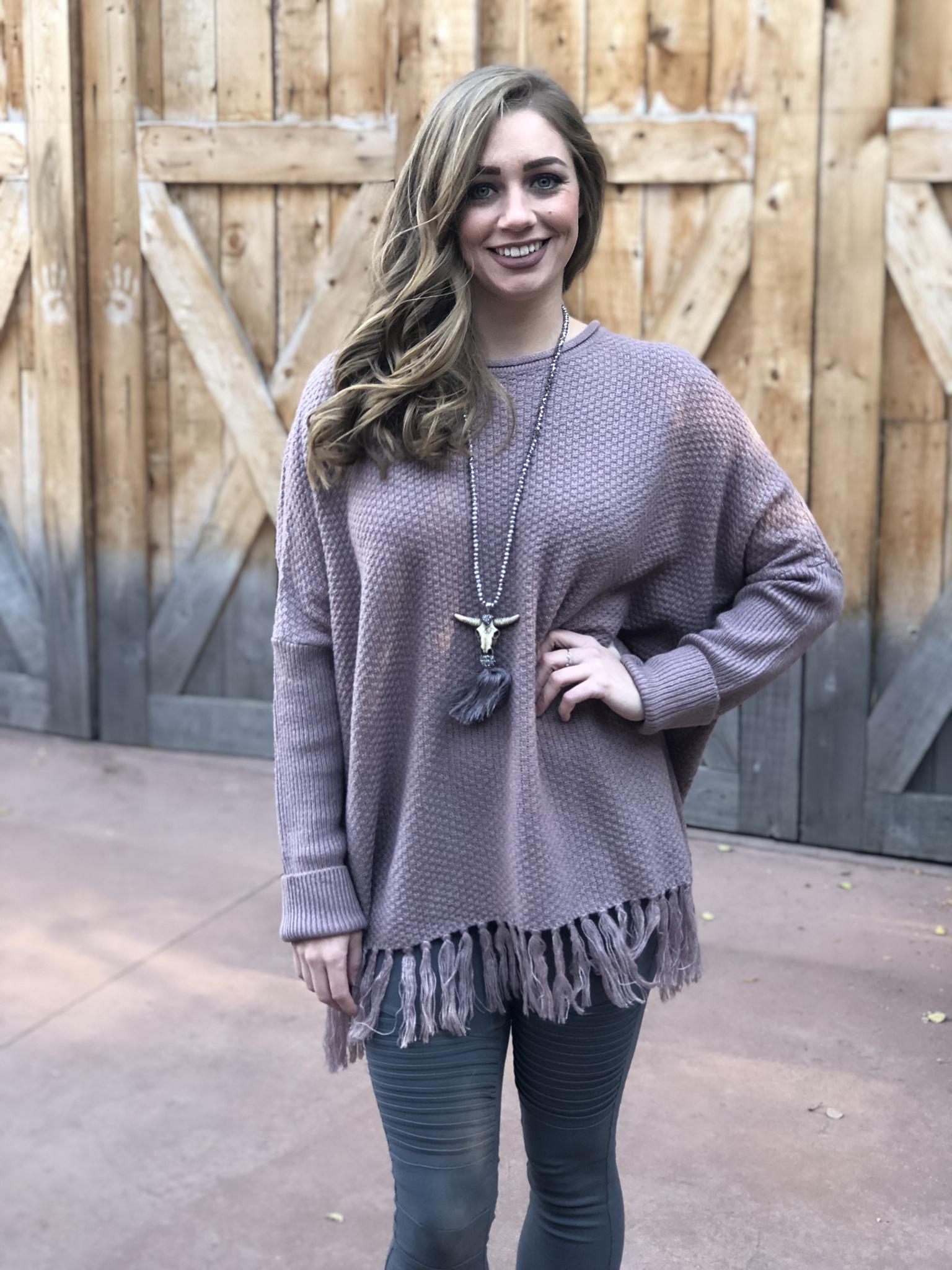 Lavender Fringe Sweater 33323