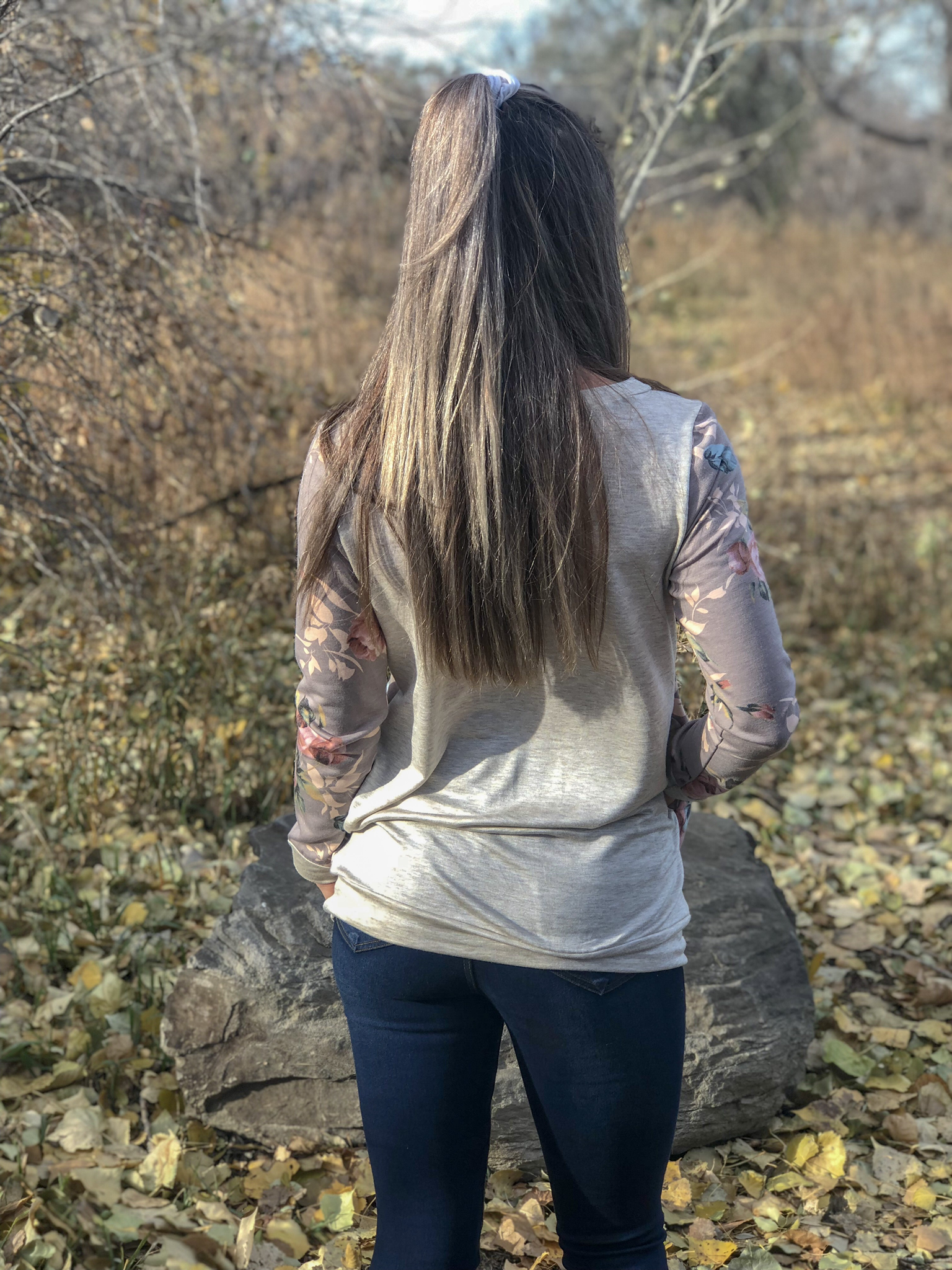 Taupe floral long sleeve