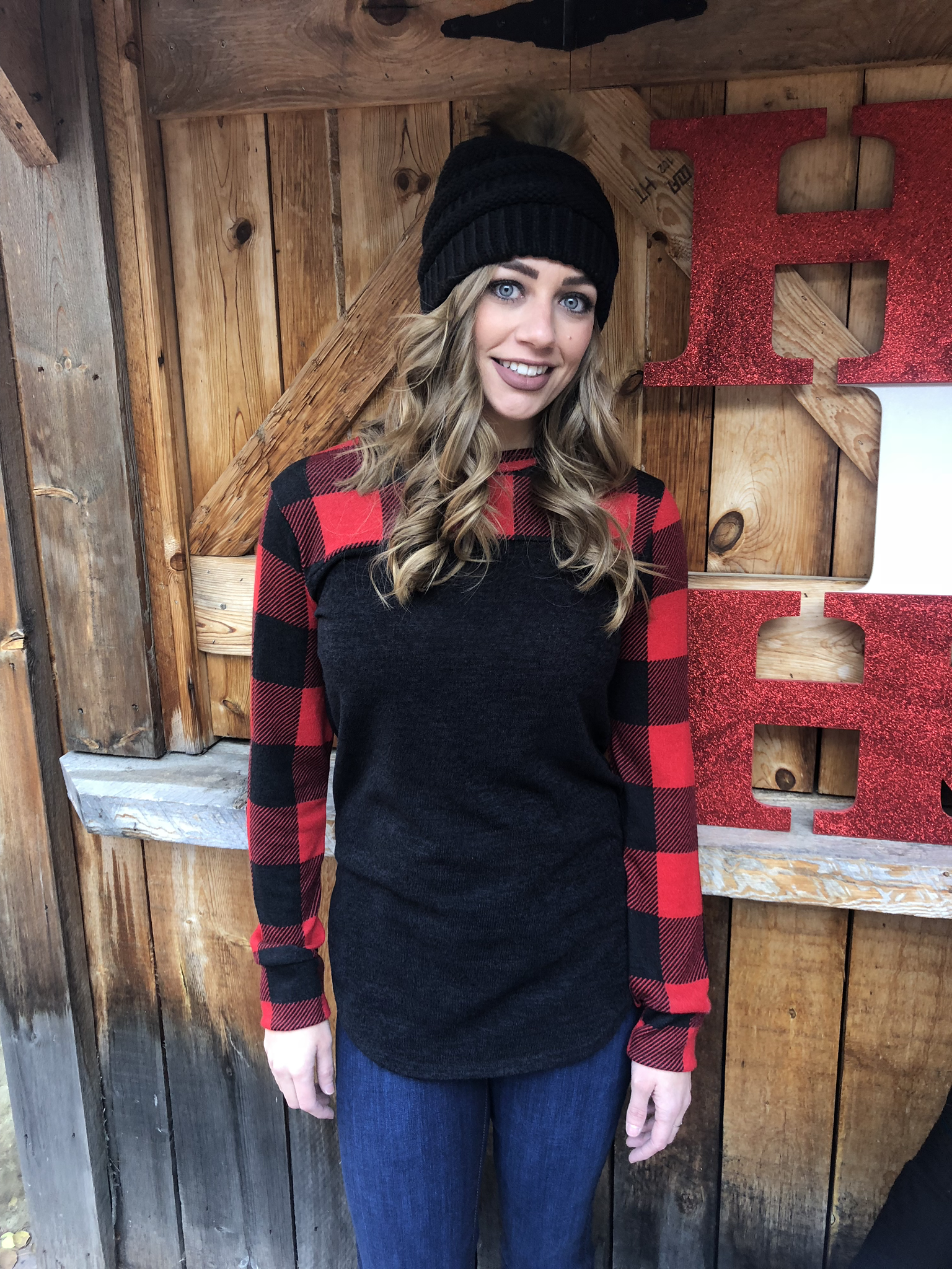 Buffalo plaid elbow patch top 3644