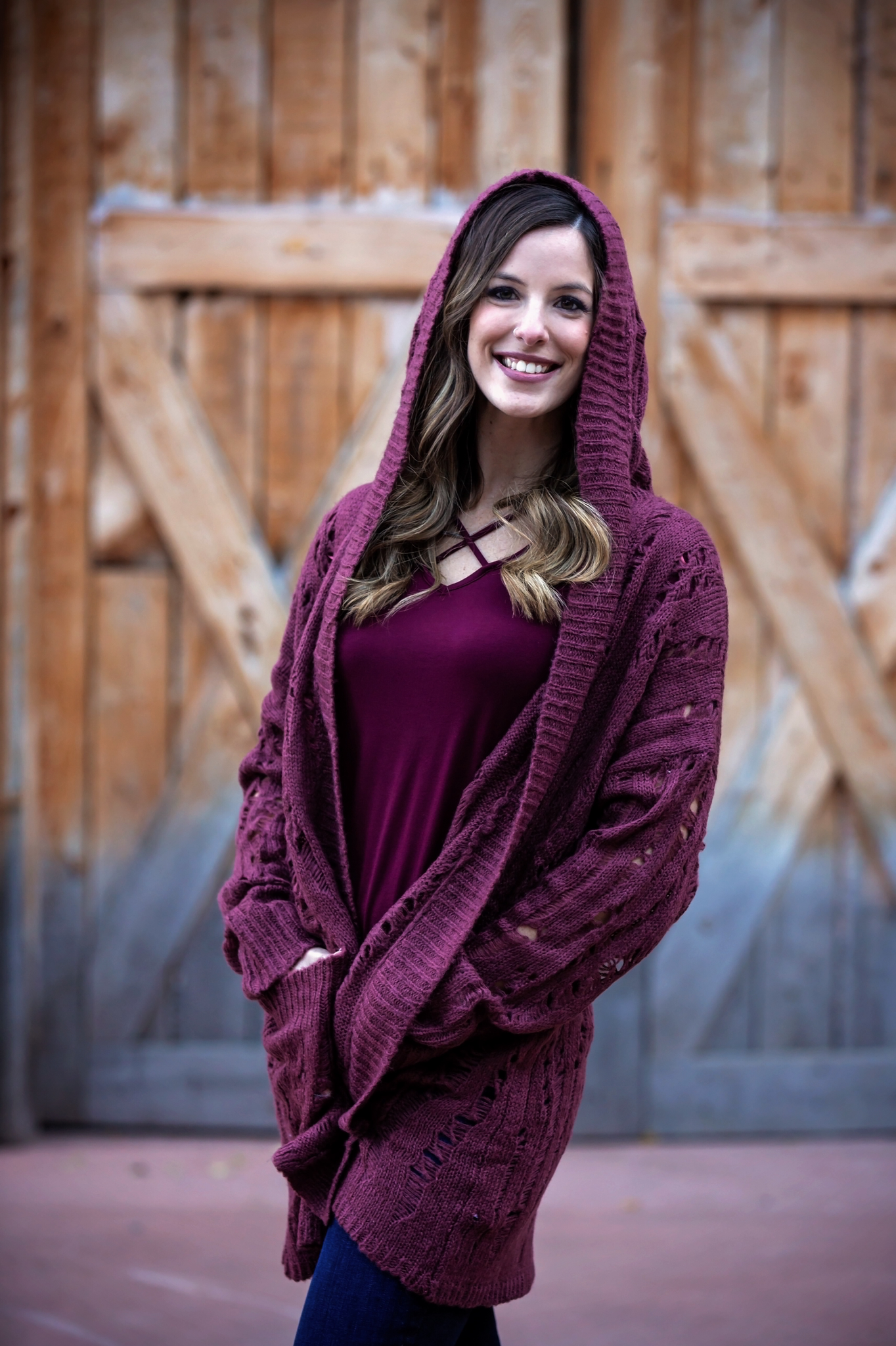 Wine hooded cardigan  32547