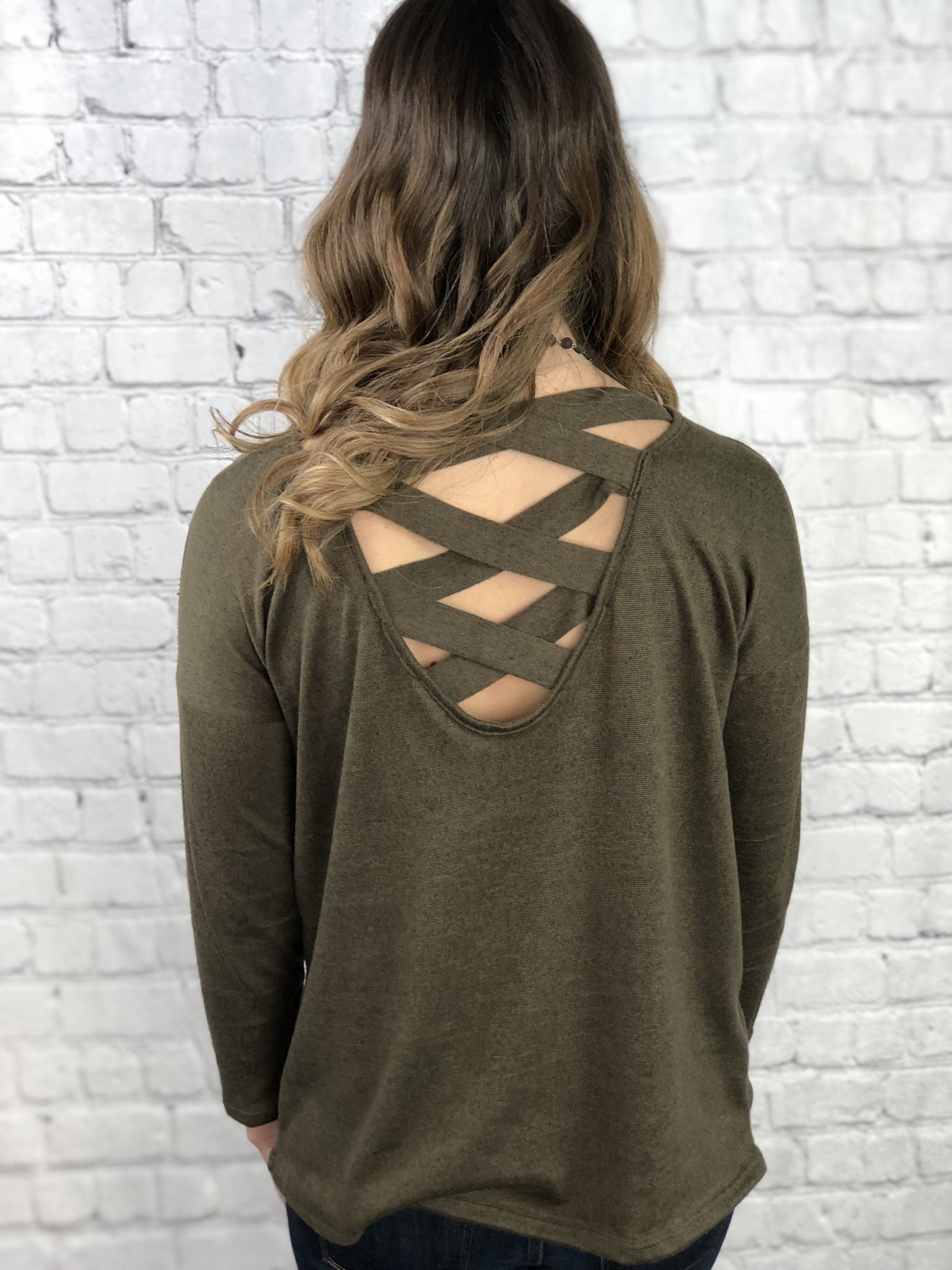 Olive Strappy Back Sweater Top 999999898