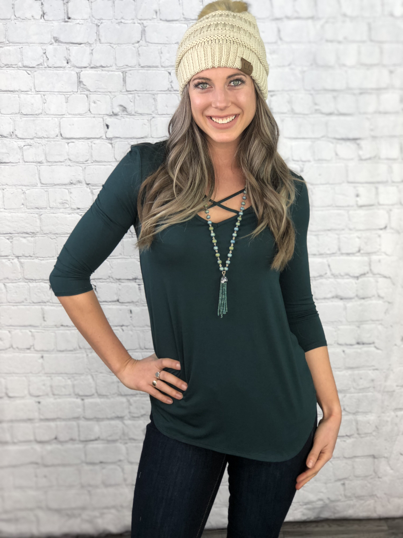 The Waterton 3/4 Sleeve Top - 3 Colours 999999906