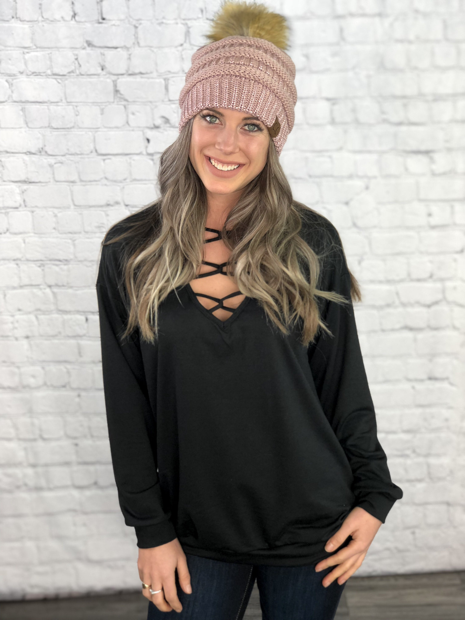 The Sabrina Strappy Sweatshirt  - Black 8362