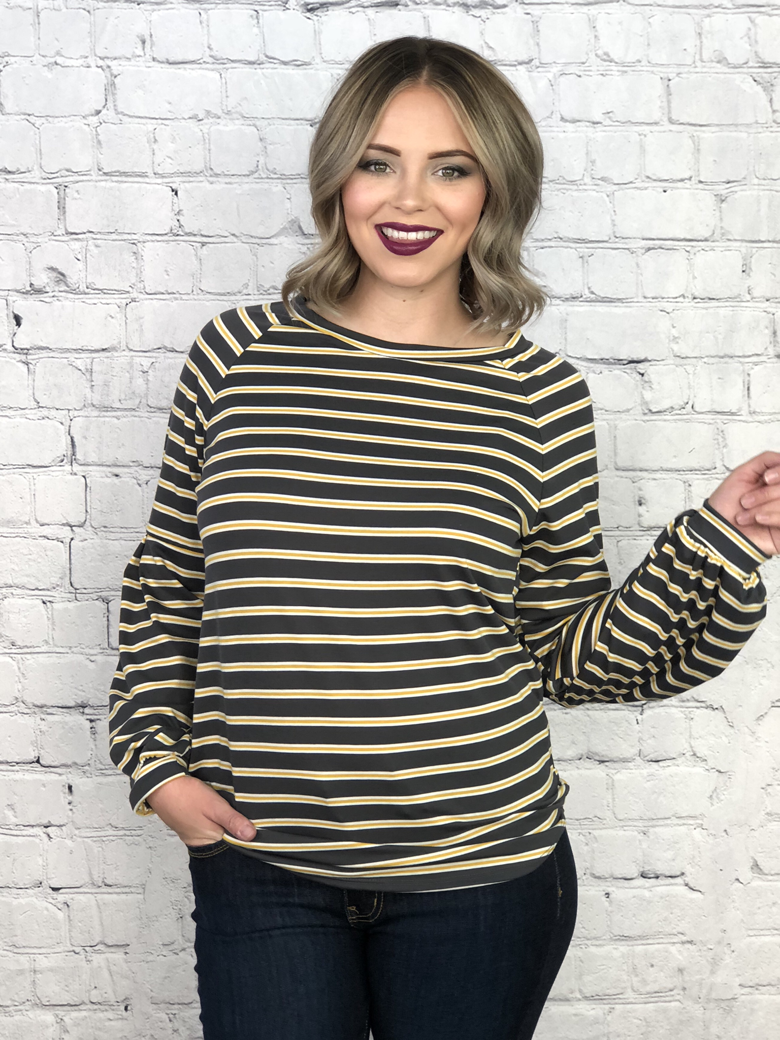 The Mustard Striped Balloon Arm Top 6543