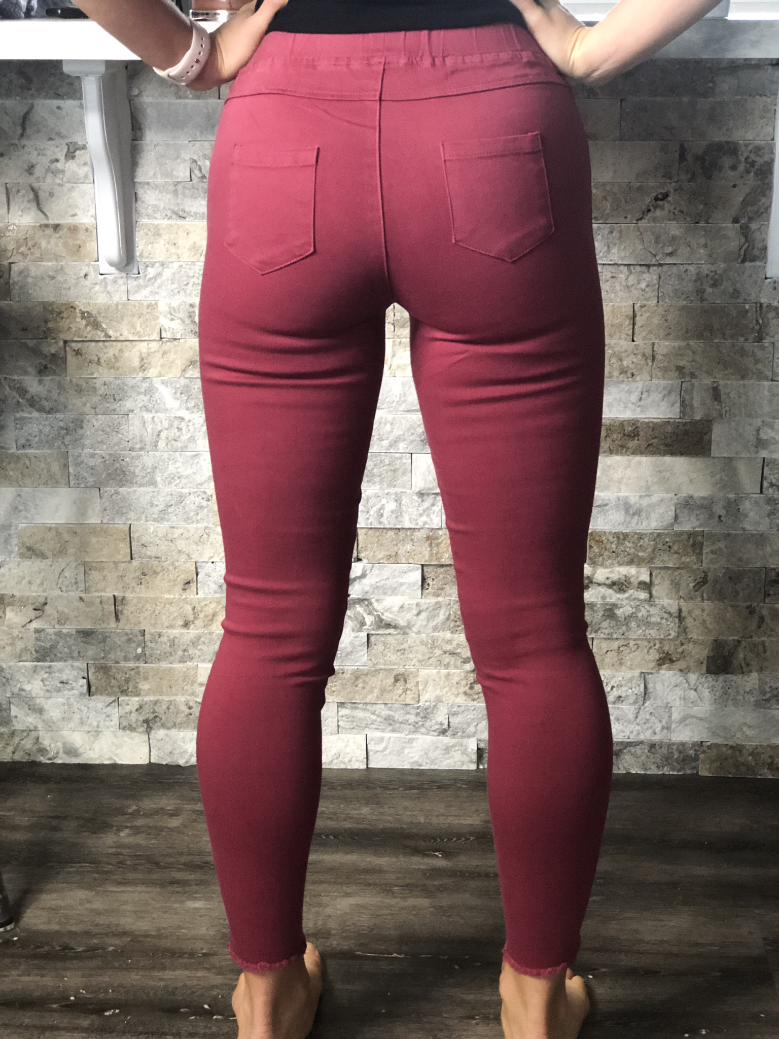 Cut Knife Jeggings - Red