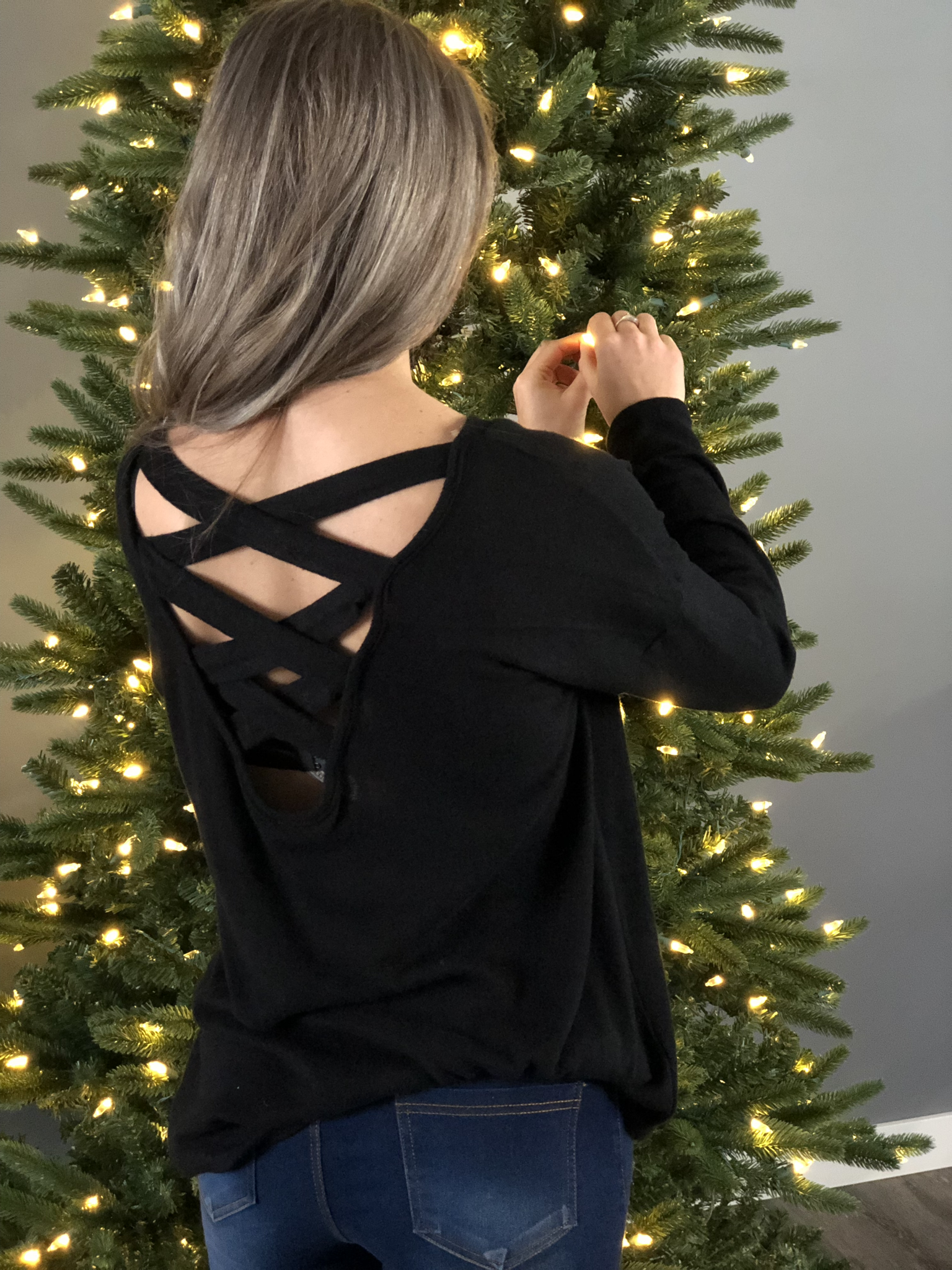 Black Strappy Back Sweater Top 7656
