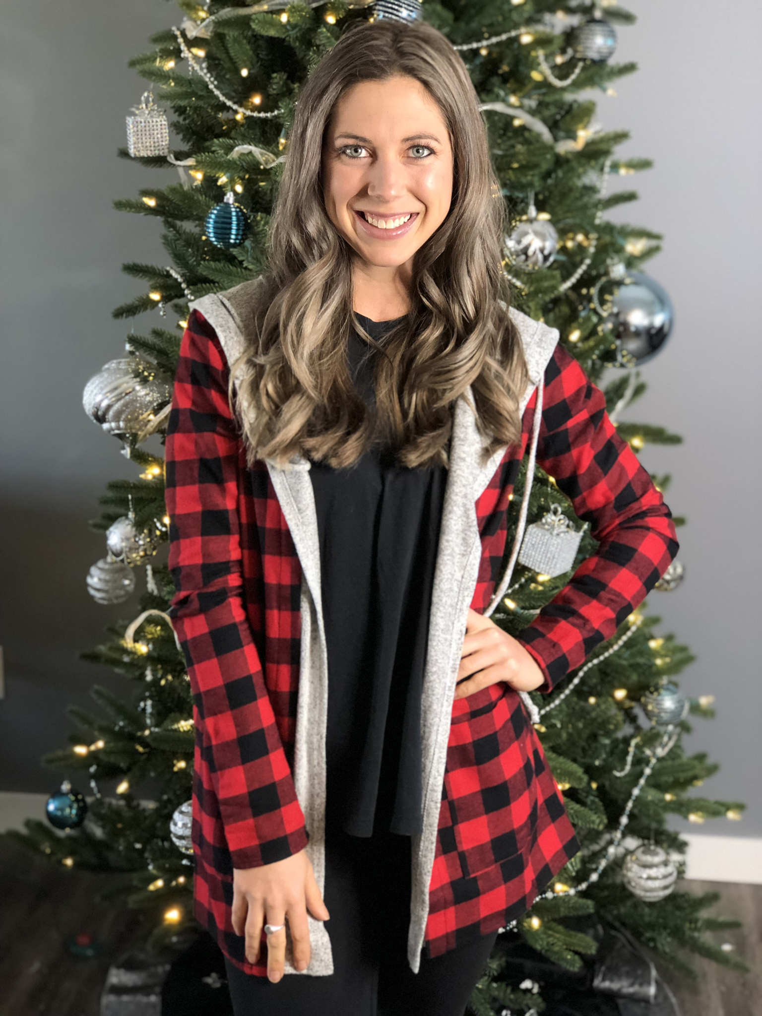 Buffalo Plaid structured overlay with soft grey hood and trim 223344