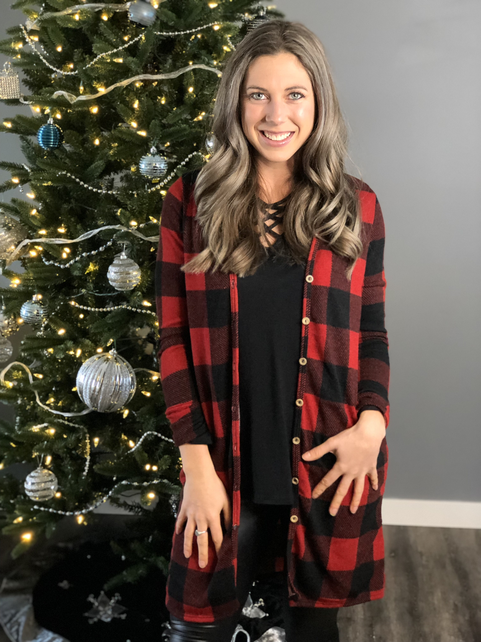 Long Button Buffalo Plaid Cardigan 101